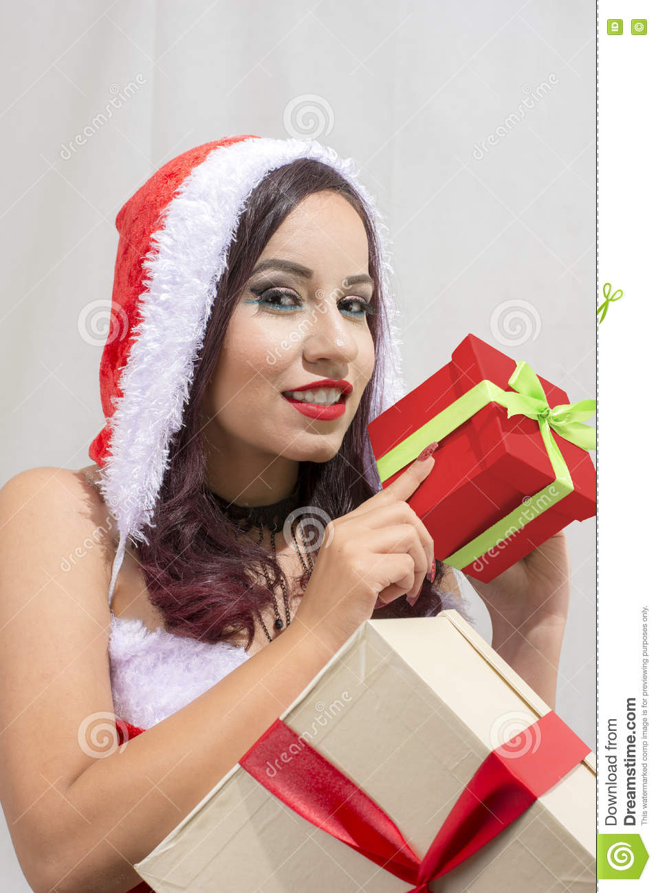 Christmas Santa Claus Costume Isolated Woman Portrait Hold Christmas ...