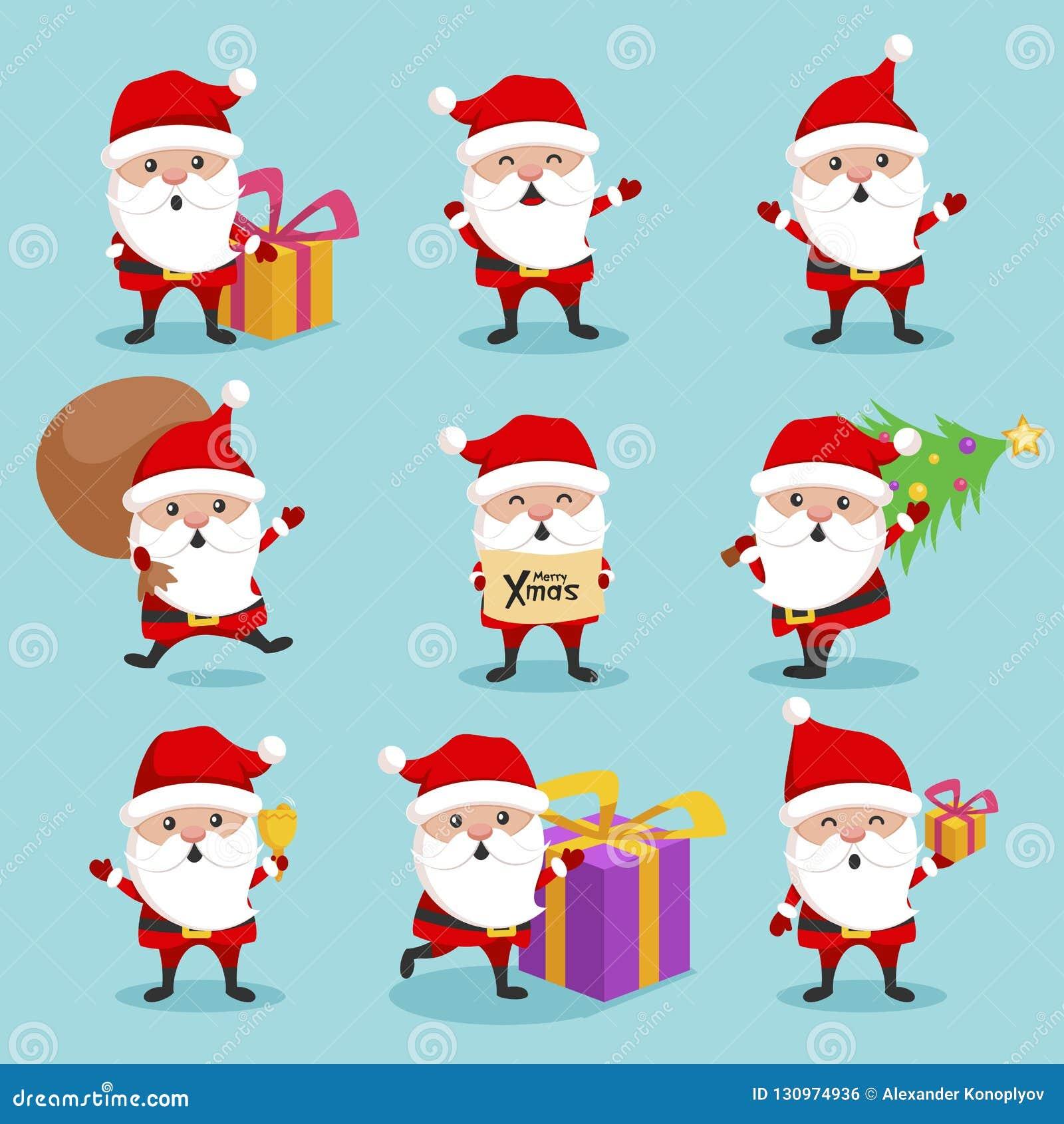 6ea1d6c87b6 Christmas Santa Claus Cute Character Holiday Set Stock Vector ...