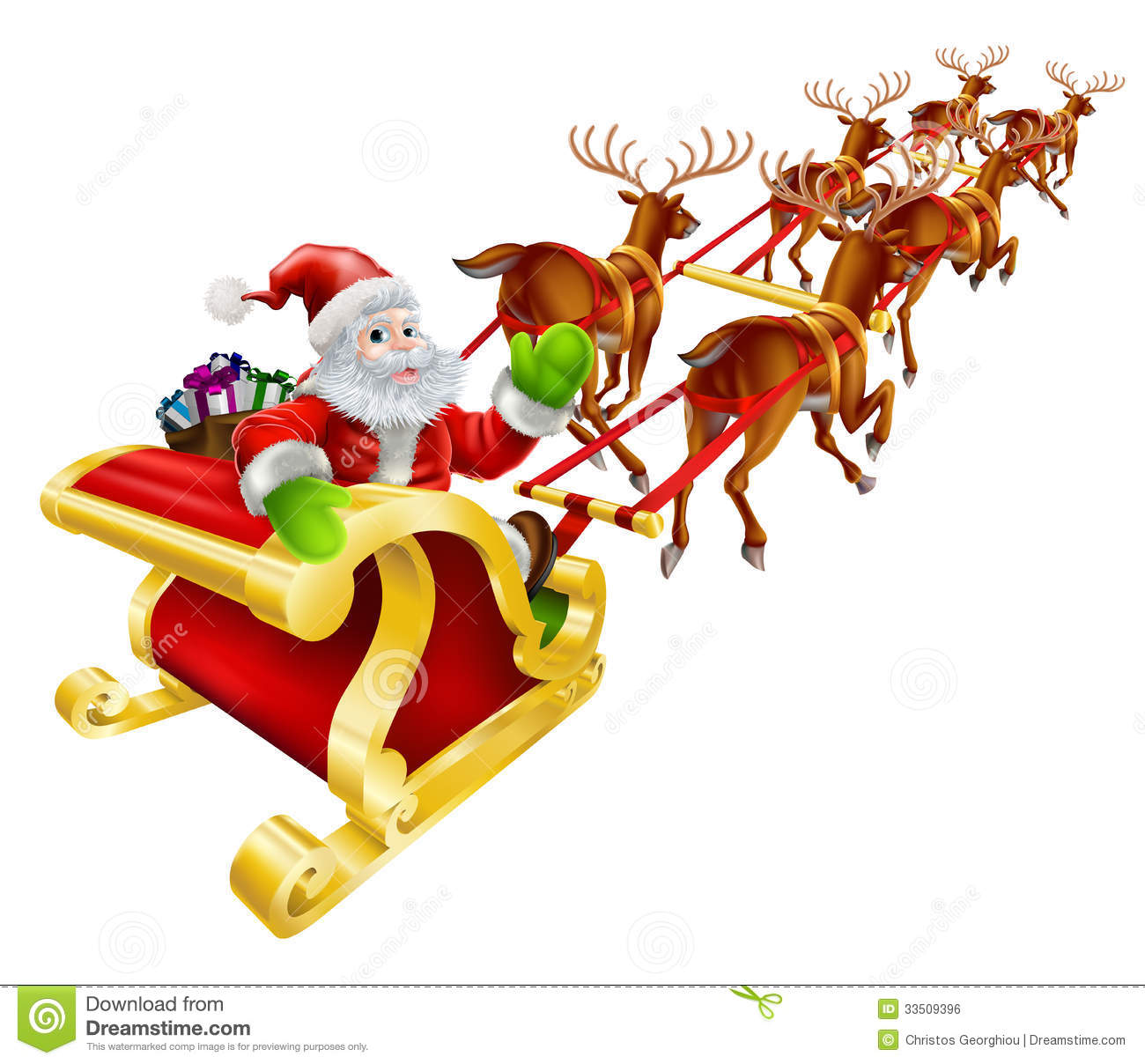 christmas santa claus flying in sleigh royalty free stock