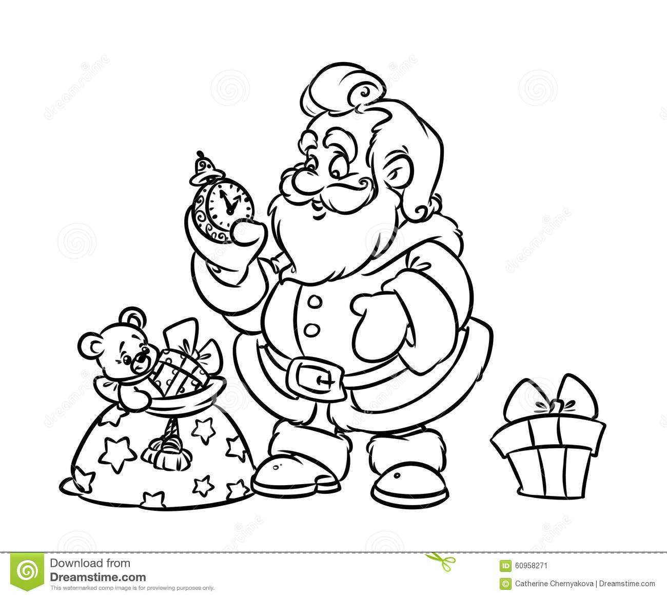 christmas santa claus gift bag coloring page stock illustration