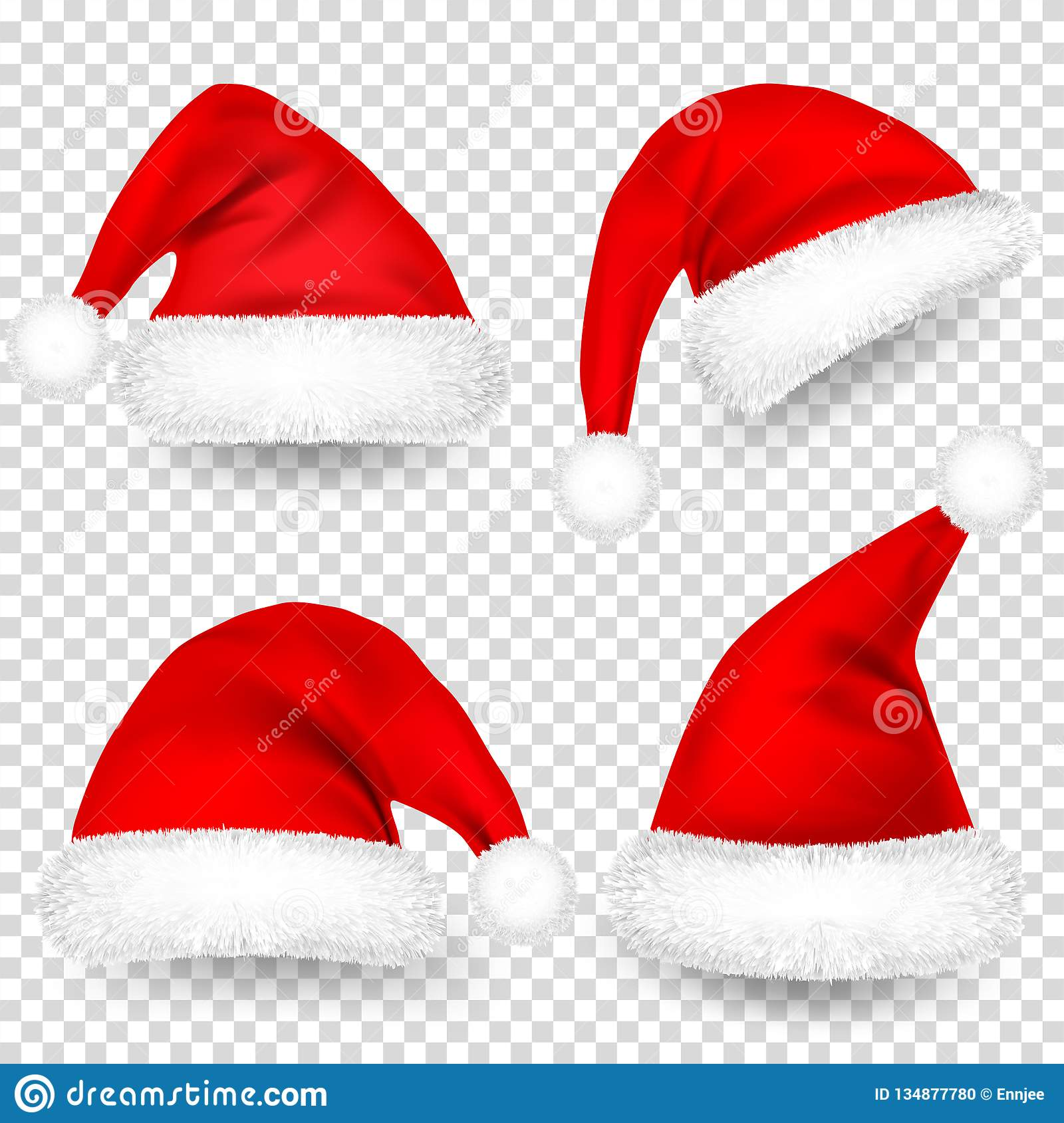 Transparent Christmas Hat.Christmas Santa Claus Hats With Fur And Shadow Set New Year