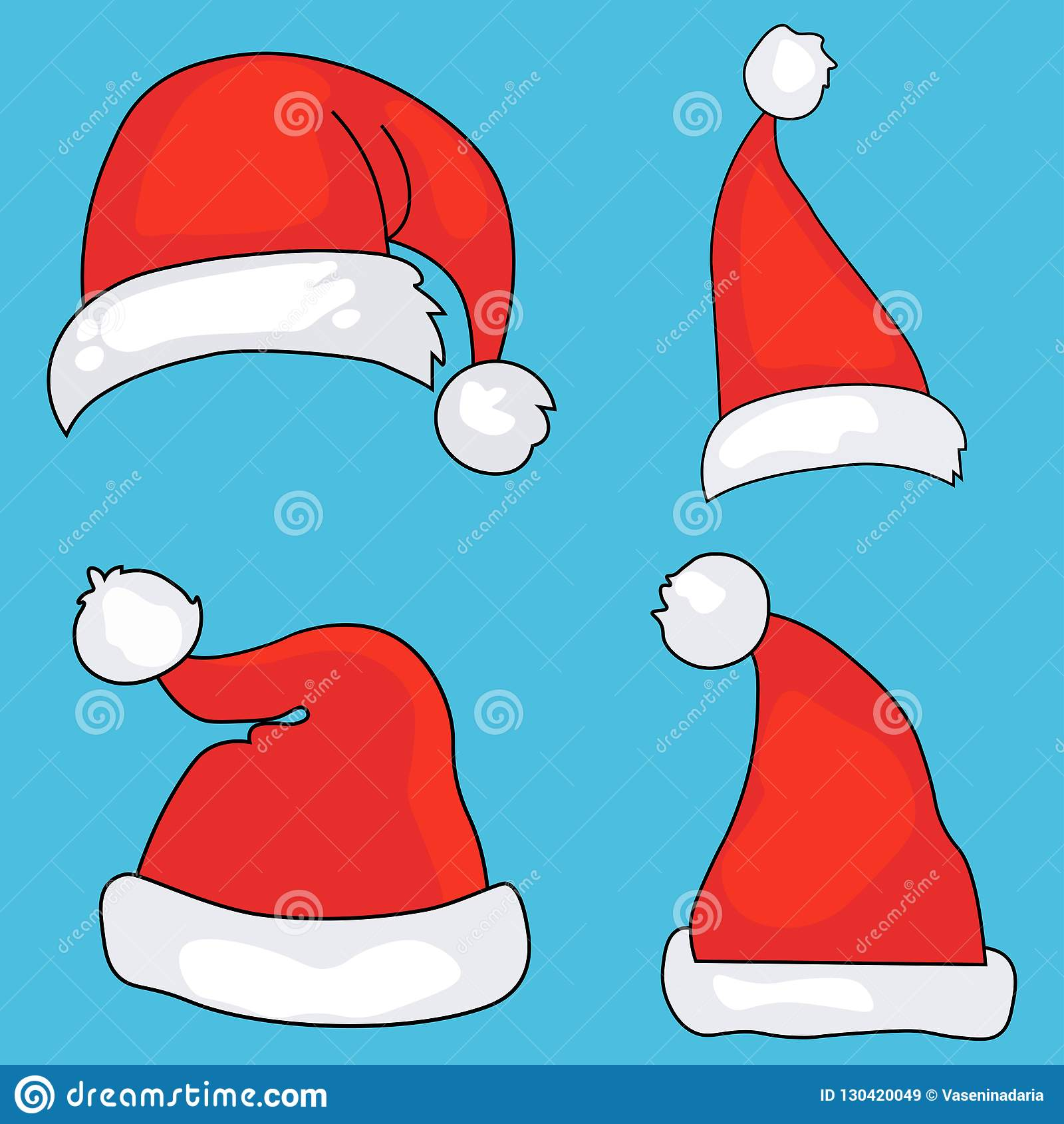 Santa hats cartoon christmas costume caps with vector image