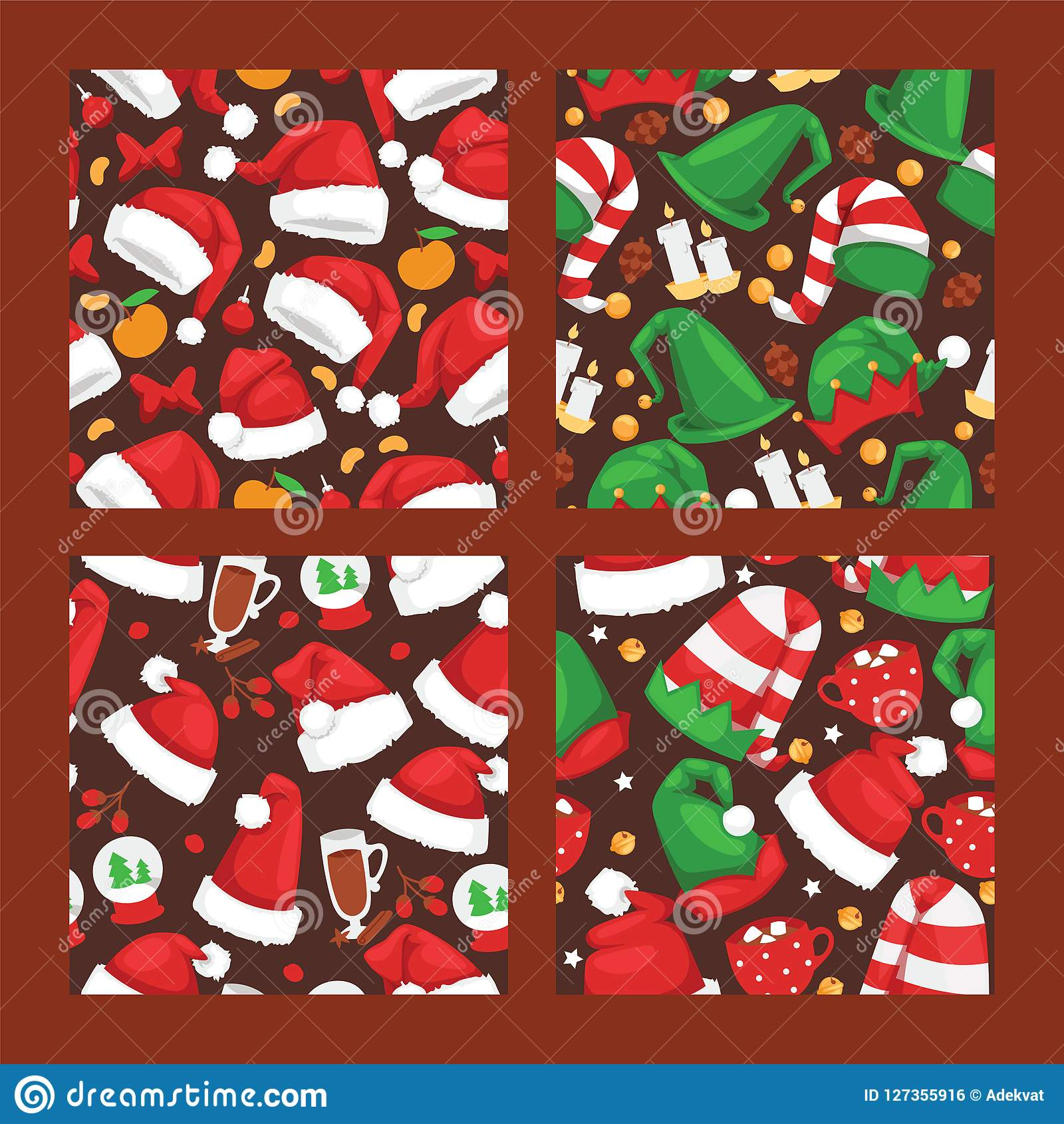 Christmas Santa Claus red hat vector noel seamlesss pattern background illustration New Year Christians Xmas party