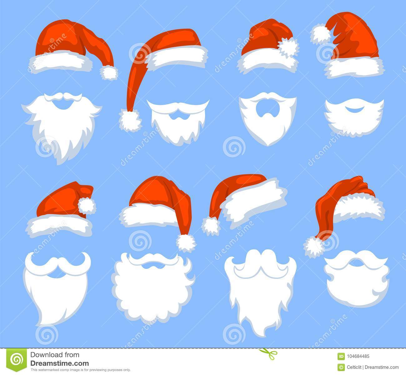 04e649e97c5 Christmas Santa Claus red hats with white moustaches and beards vector set. Santa  claus masks with beard and moustaches for xmas holiday