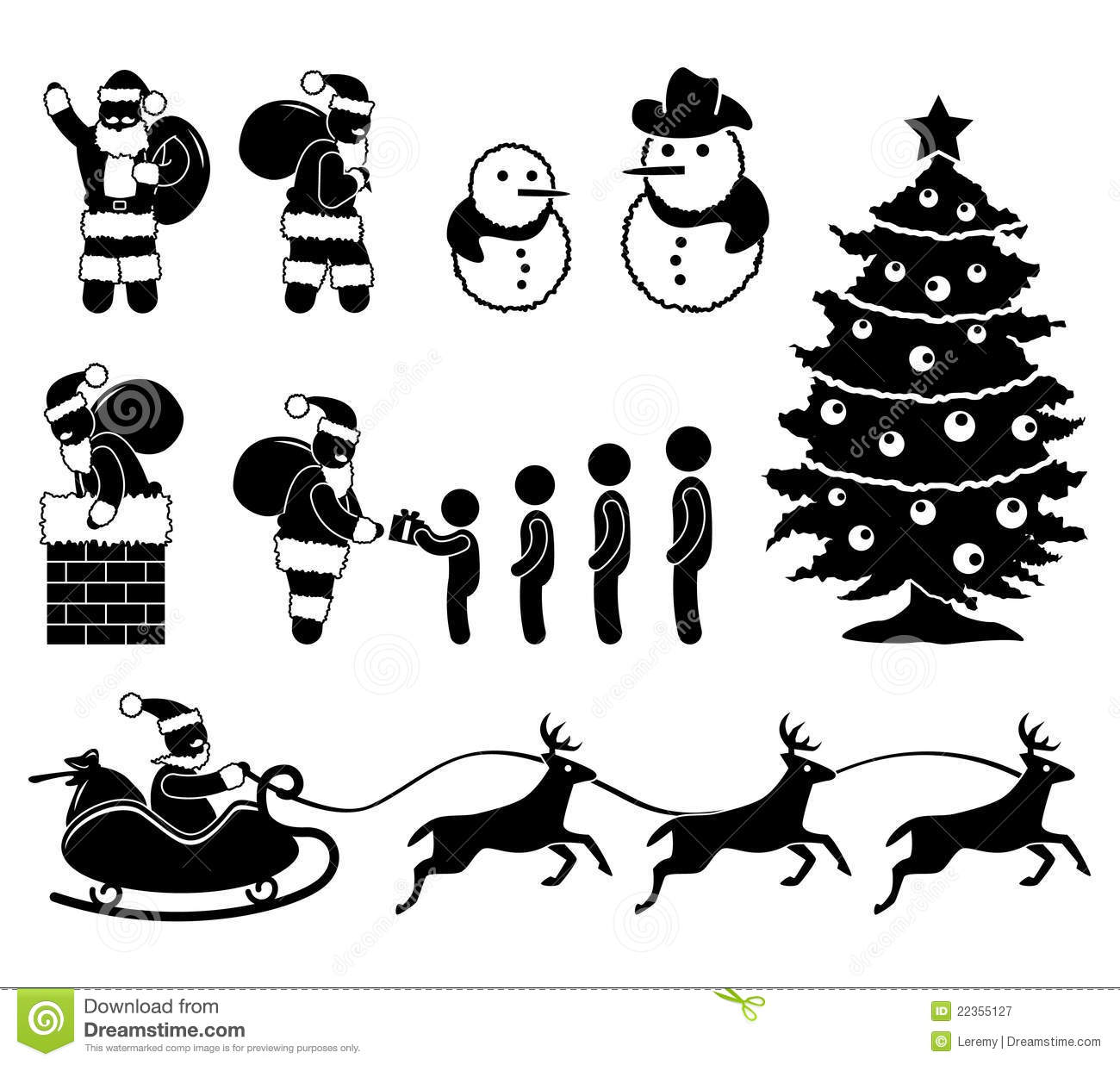 Christmas Santa Claus Reindeer Pictogram Royalty Free