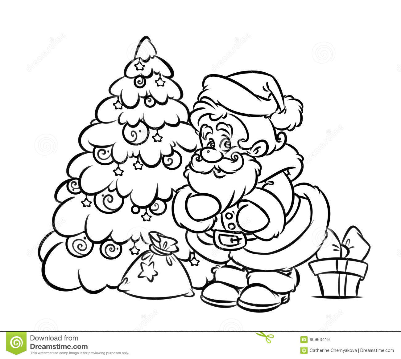 Santa Claus With Gifts And Christmas Tree Drawing
