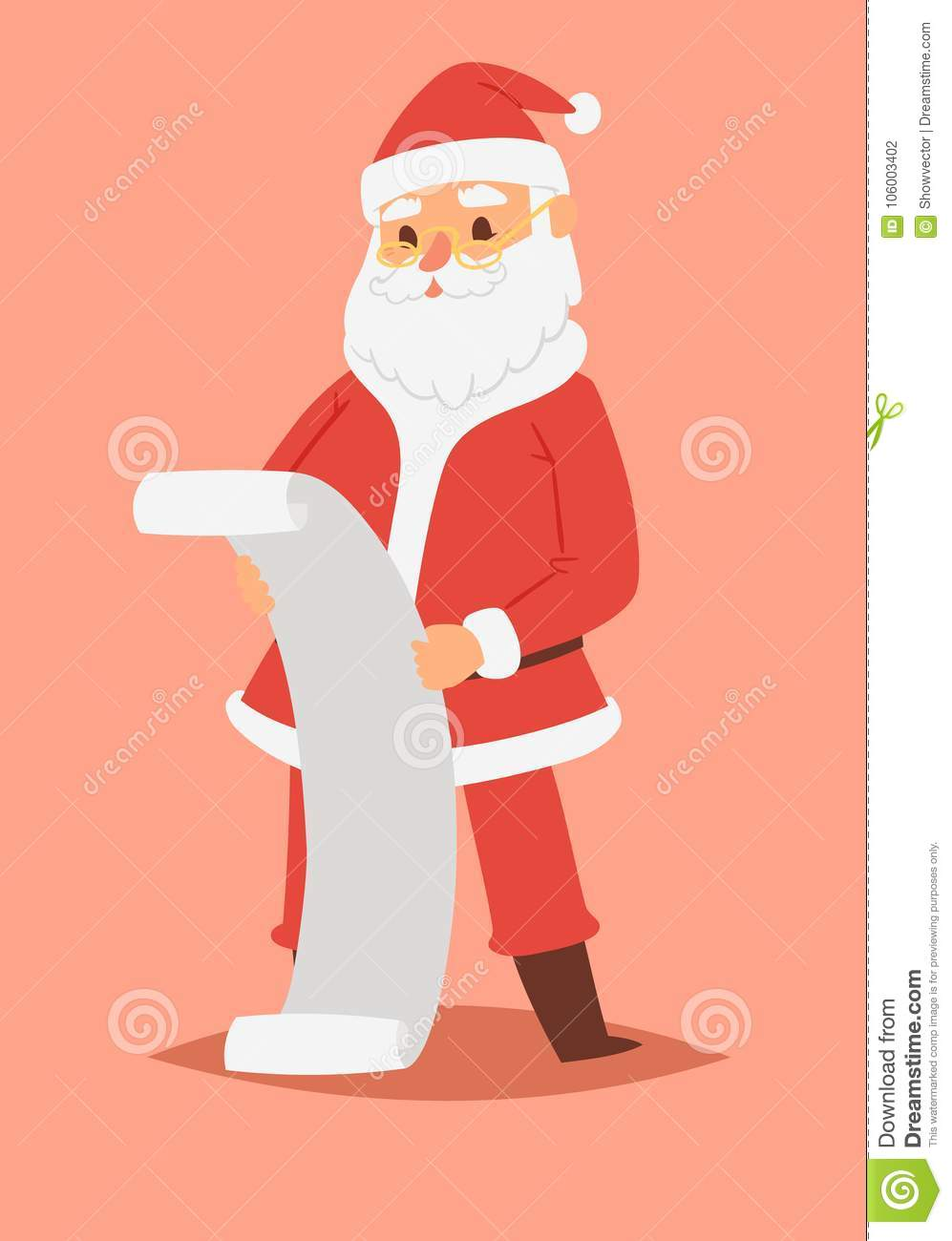 51a0fc33403ee Christmas Santa Claus vector character pose illustration Xmas man in red  traditional costume and Santa hat