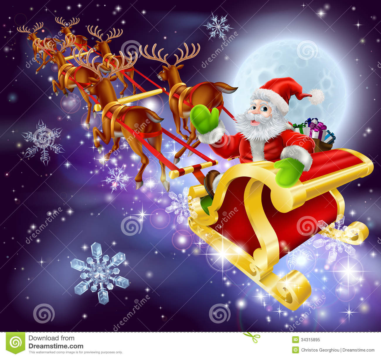 christmas santa flying in his sled or sleigh - Christmas Santa Pictures