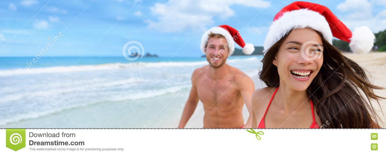 Christmas santa hat couple banner background