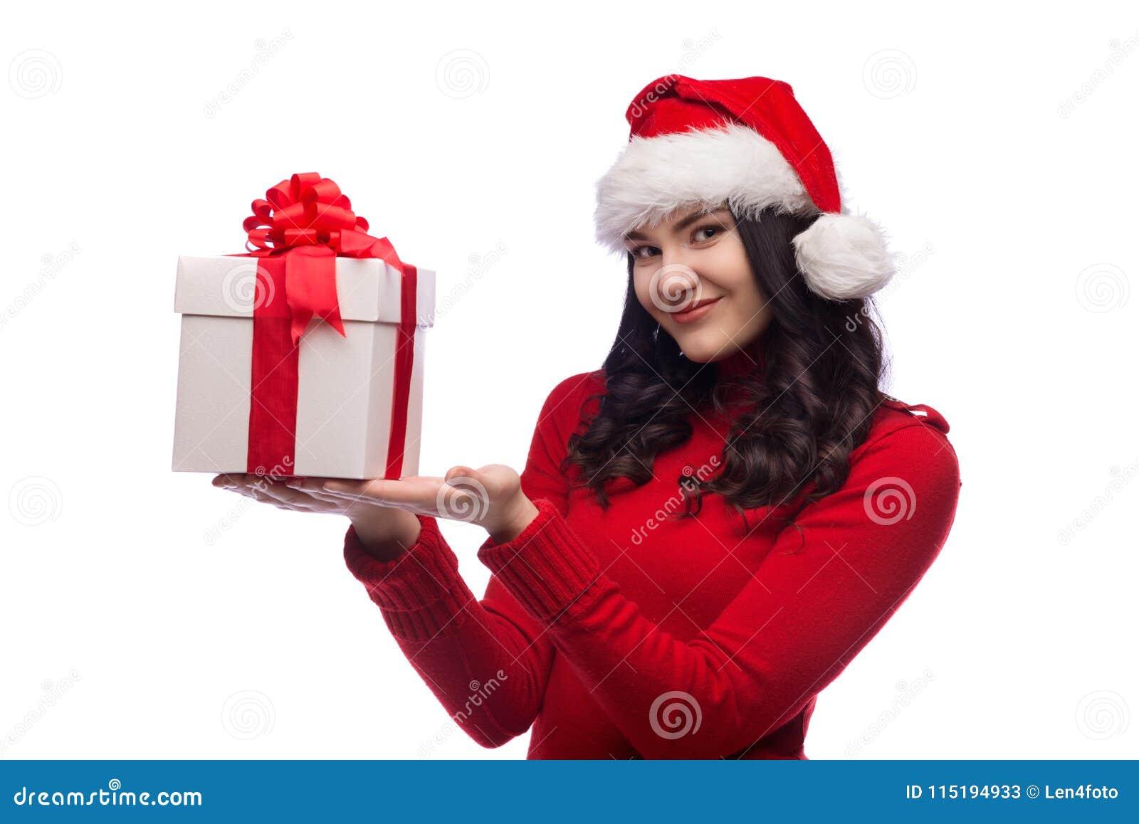 677644954fef9 Christmas Santa Hat Isolated Woman Hold Christmas Gift. Stock Image ...