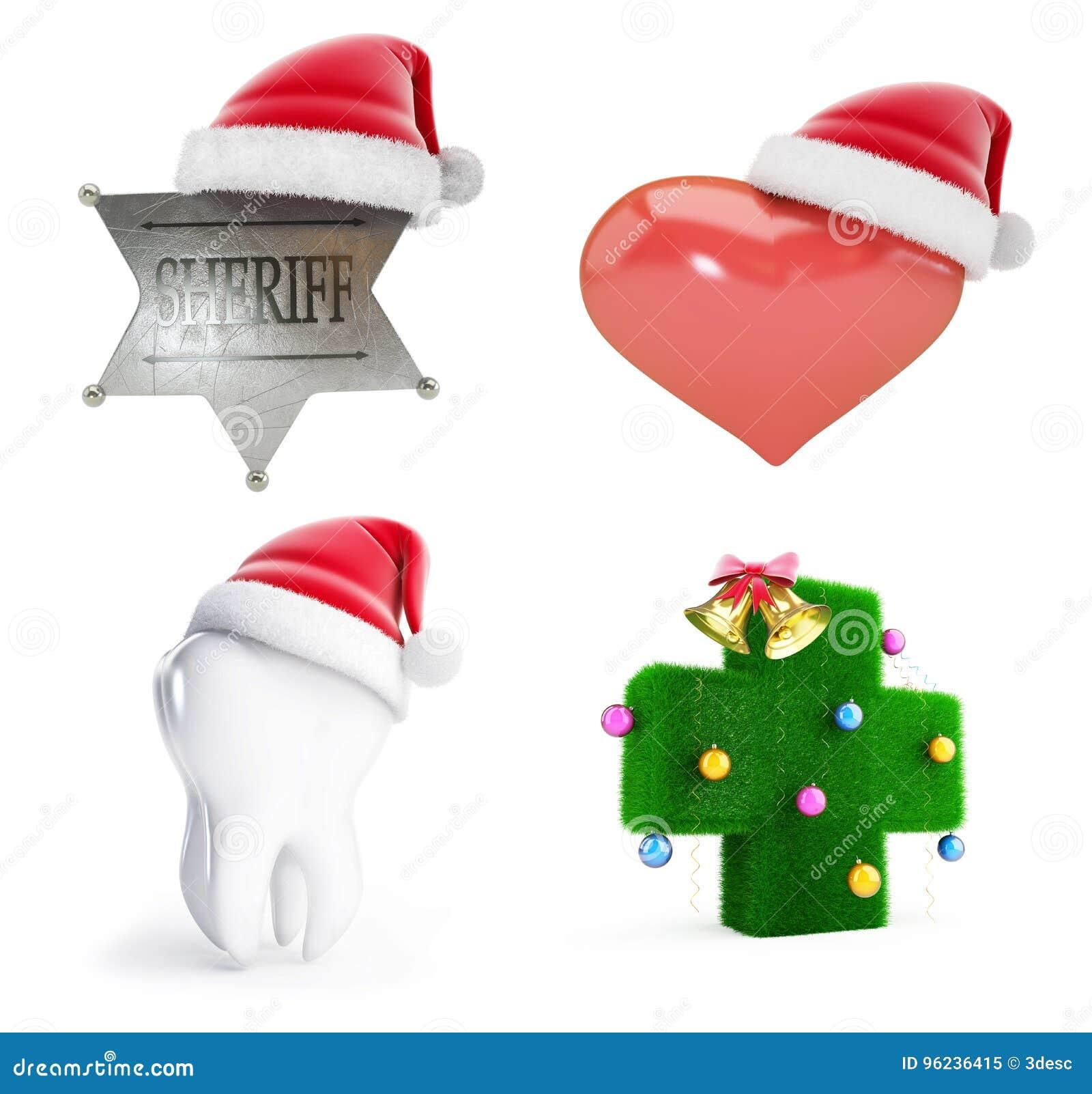 841d741a39f Christmas Santa Hat Set 3D Illustration Stock Illustration ...