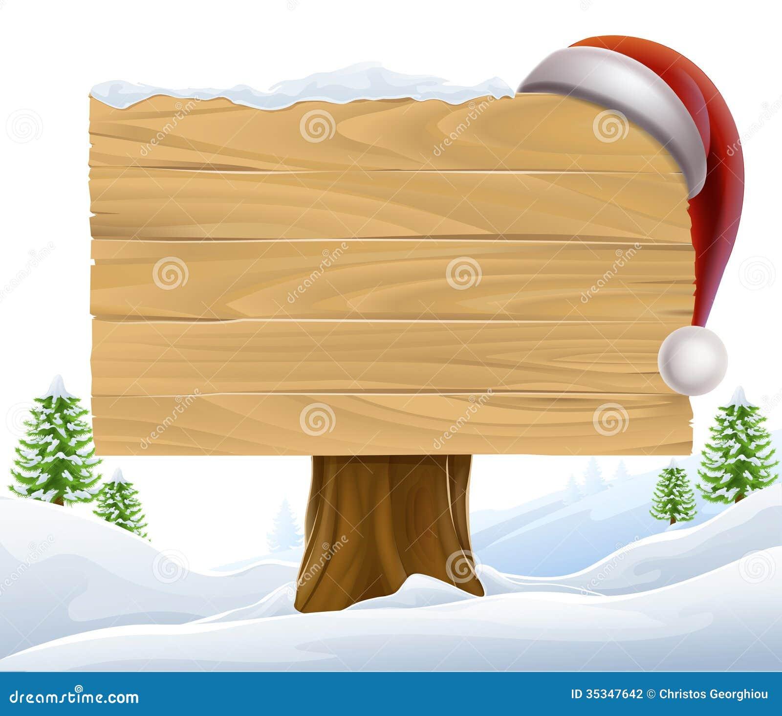Christmas Santa Hat Snow Sign Stock Vector Illustration