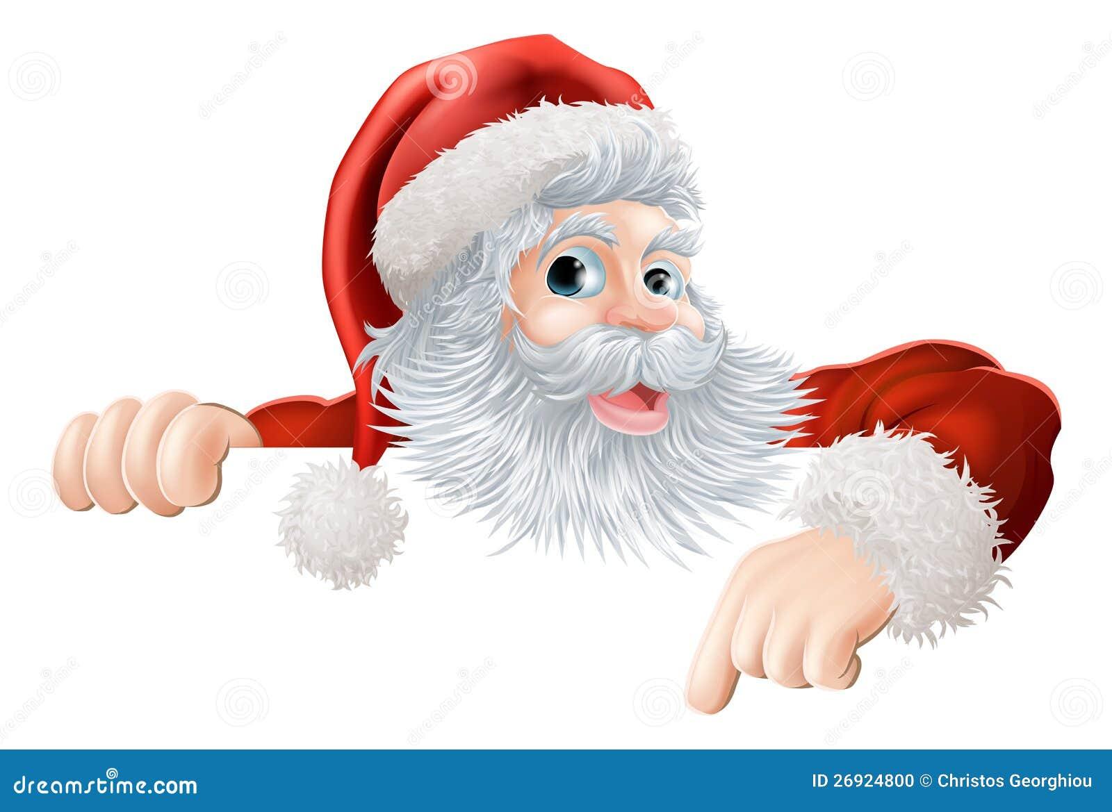 Arrow Pointing Down >> Christmas Santa Pointing Down At Sign Stock Photo - Image ...
