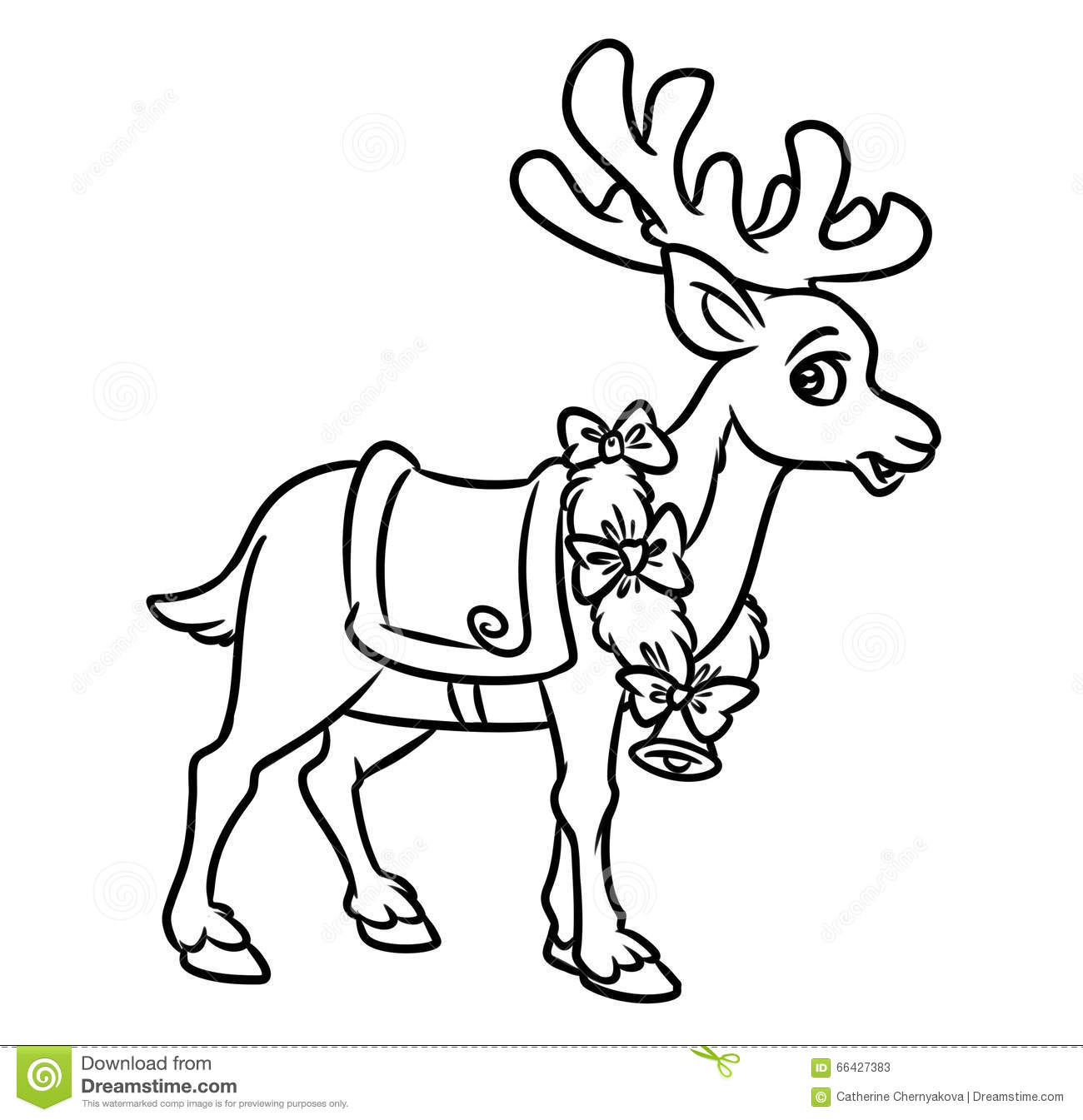 christmas santa reindeer coloring pages - Santa Reindeer Coloring Pages