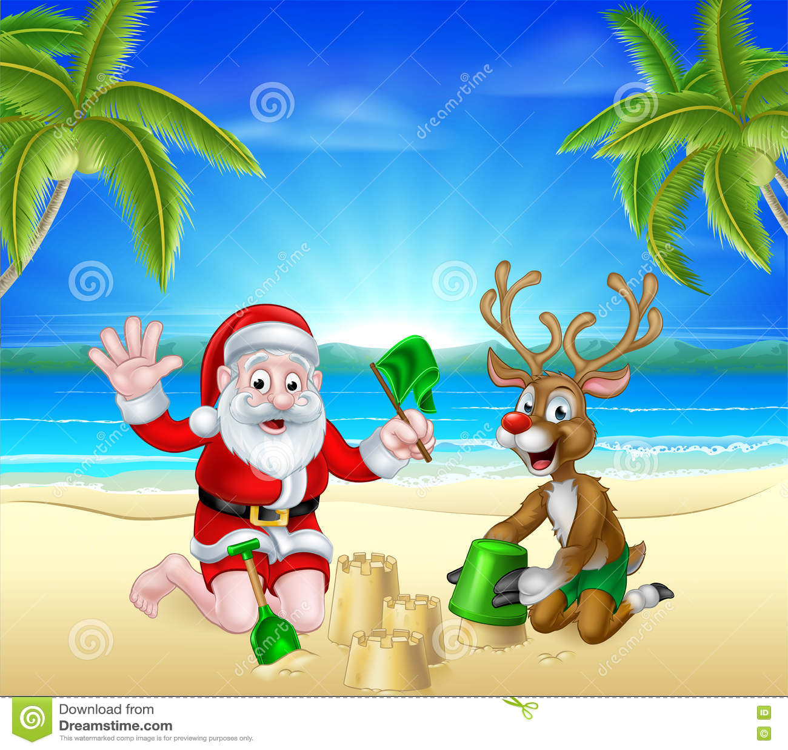 free clipart santa on the beach - photo #33
