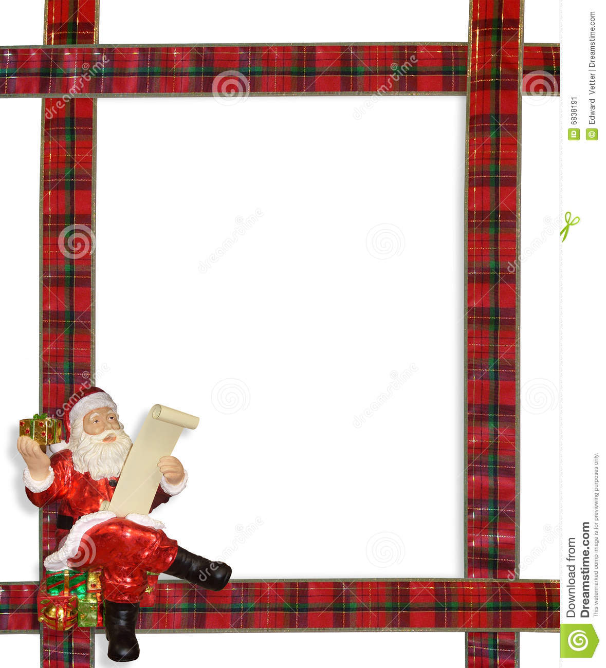 Christmas Santa Ribbons Border Frame Stock Image Image