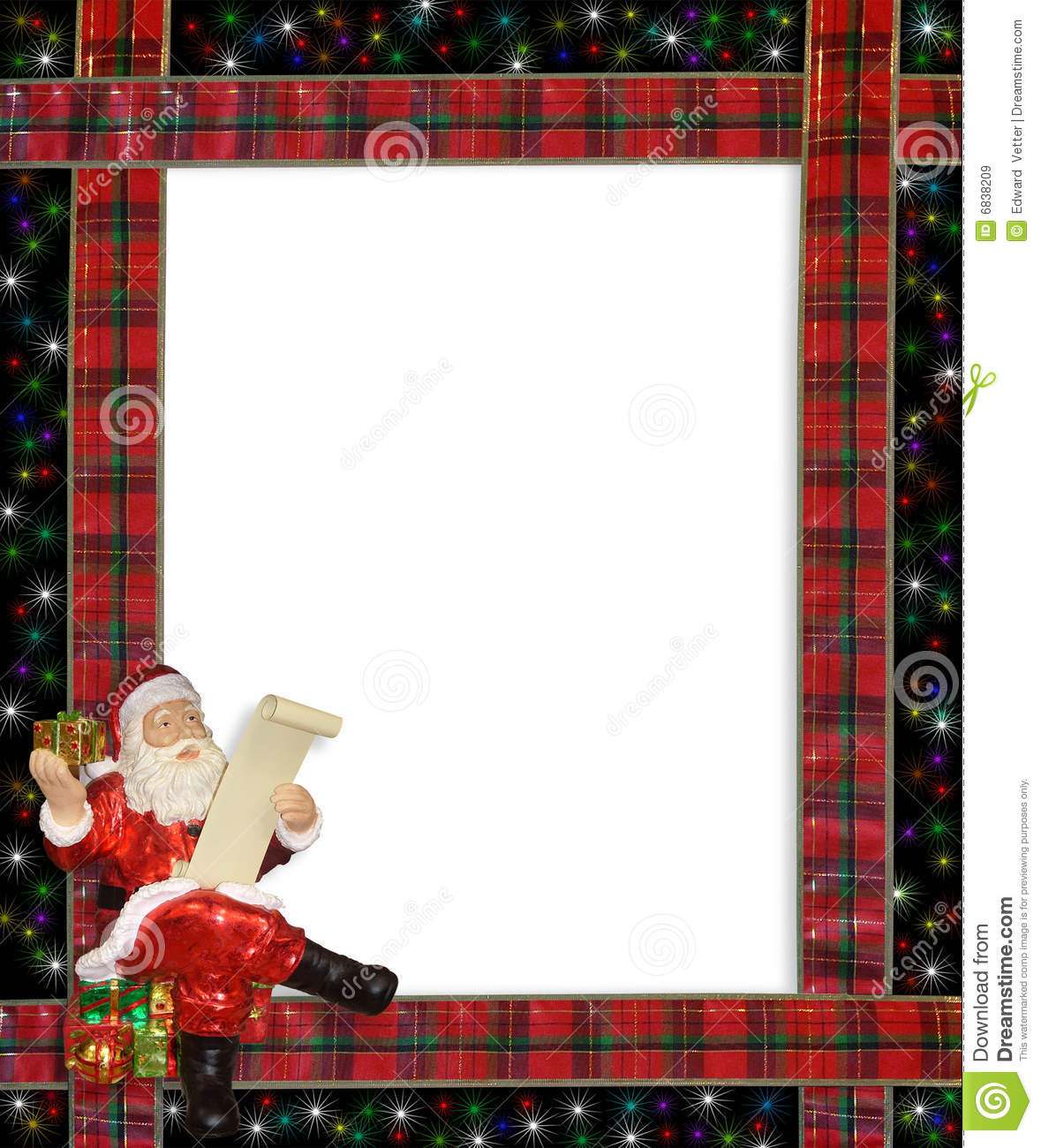 Picture of santa claus in workshop with bag of letters santa claus christmas santa ribbons border frame illustration classic spiritdancerdesigns Images