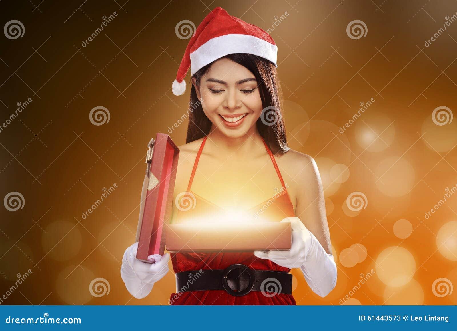 Christmas Santa Woman Opening Gift Box Stock Image - Image ...