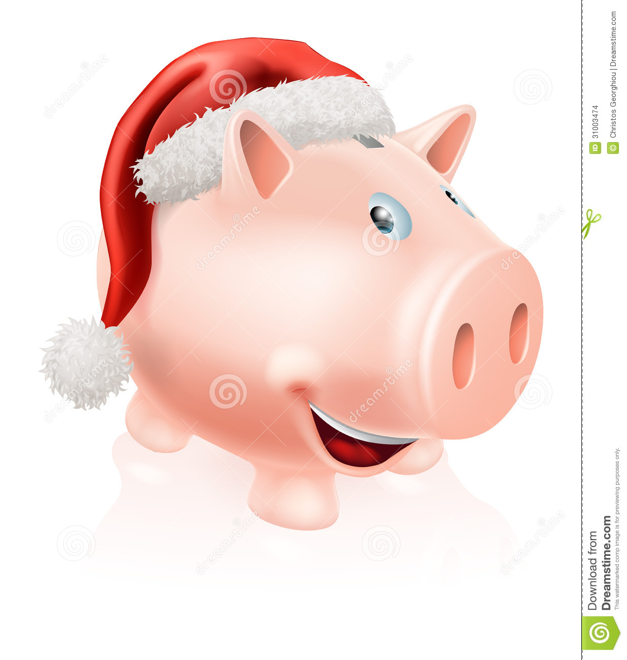 Illustration of a happy Christmas savings piggy bank with Santa hat on ...