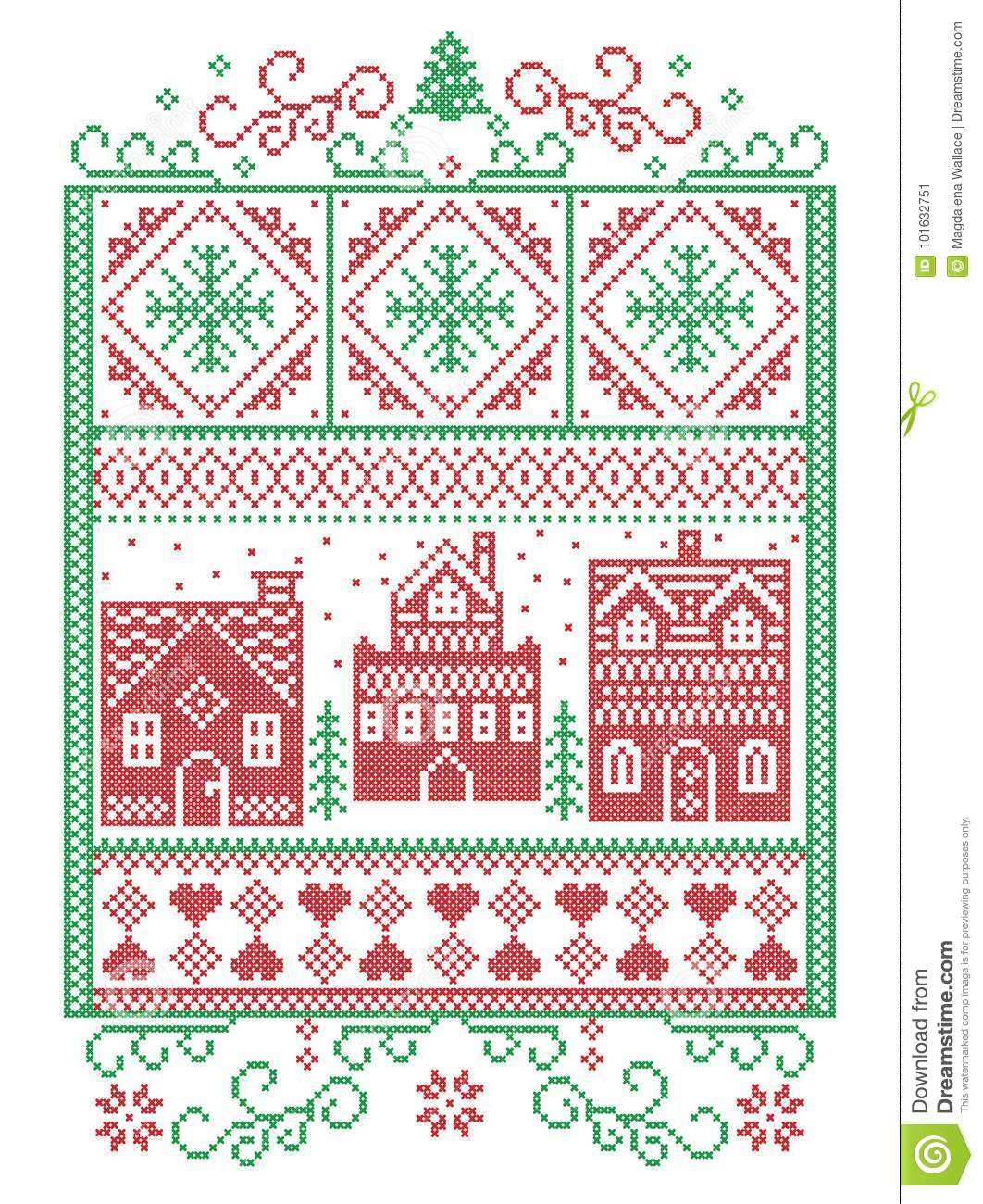 Christmas Scandinavian, Nordic style winter stitching, pattern including snowflake, heart, winter wonderland village, gingerbread