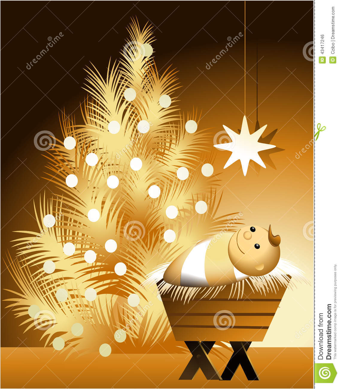 christmas scene with baby jesus stock vector image 43417246