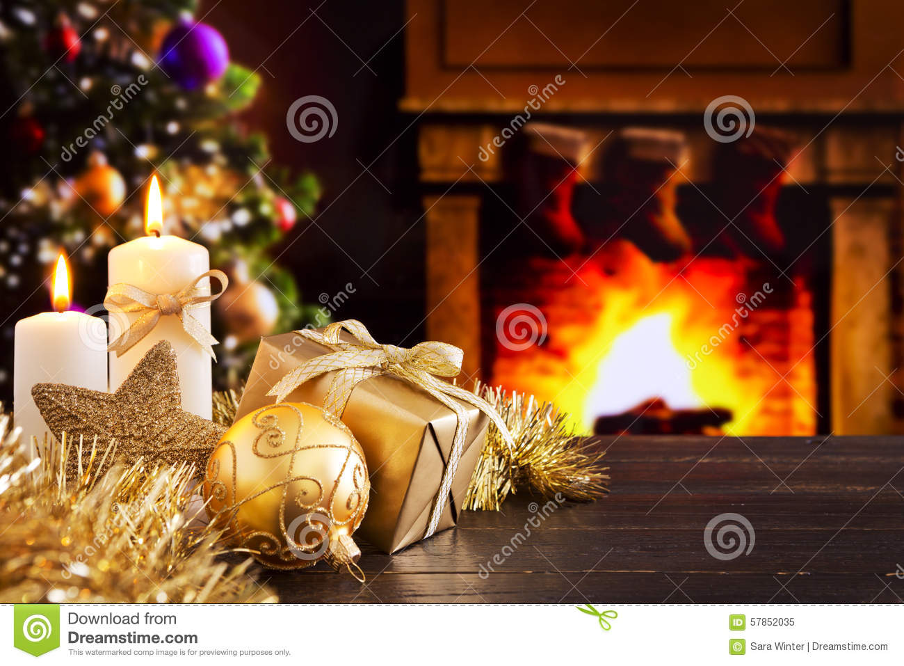 Christmas Scene With Fireplace And Christmas Tree In The