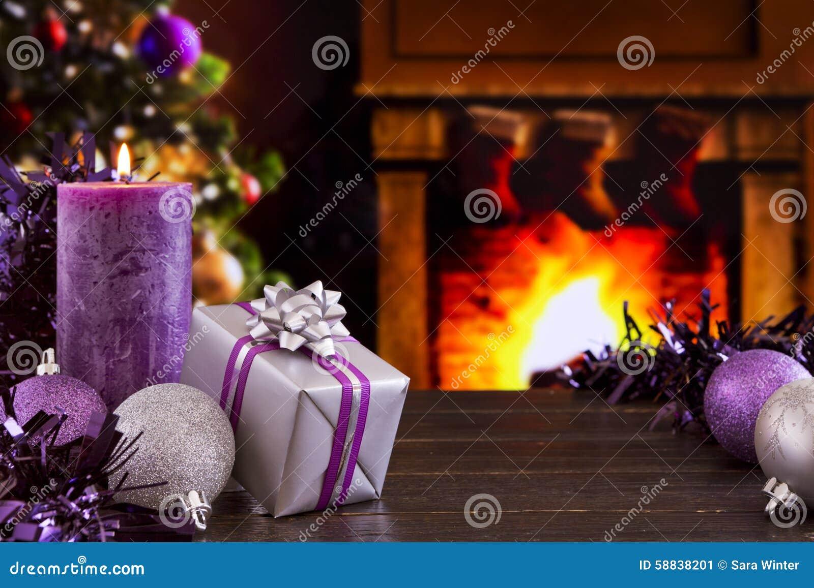 Christmas Scene With Fireplace And Christmas Tree Stock