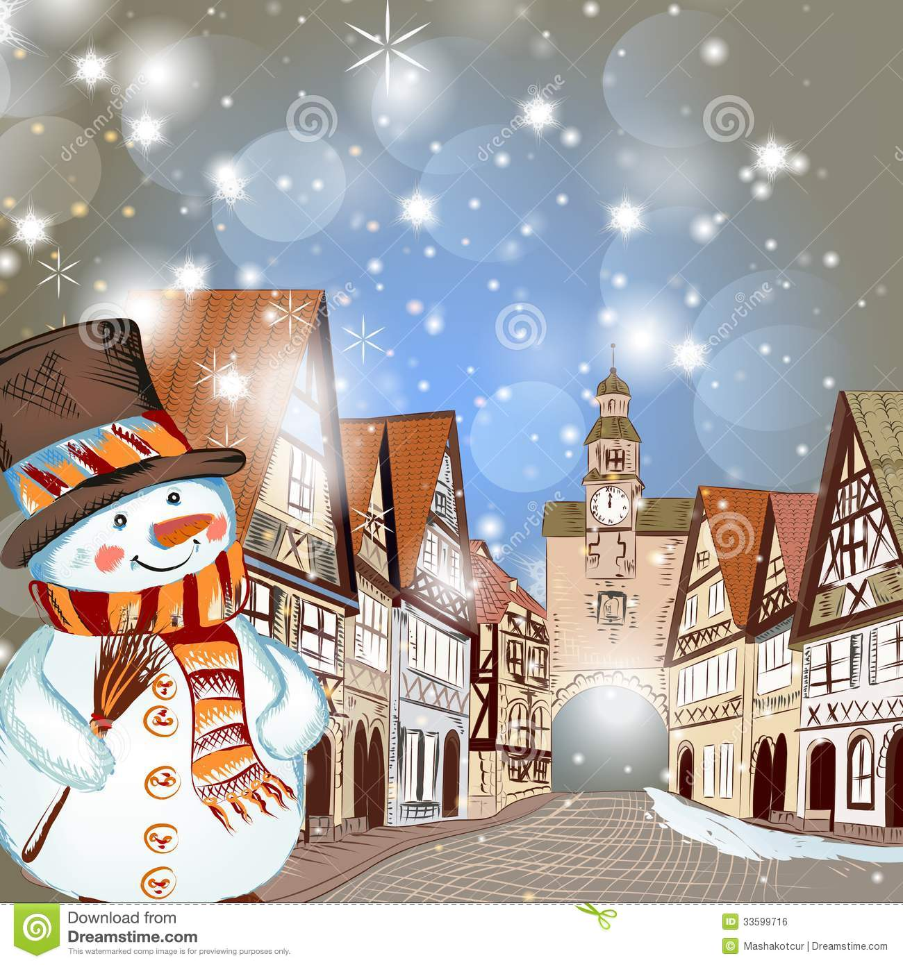 Christmas Scene With Houses In Snow And Cute Snowman Royalty Free ...