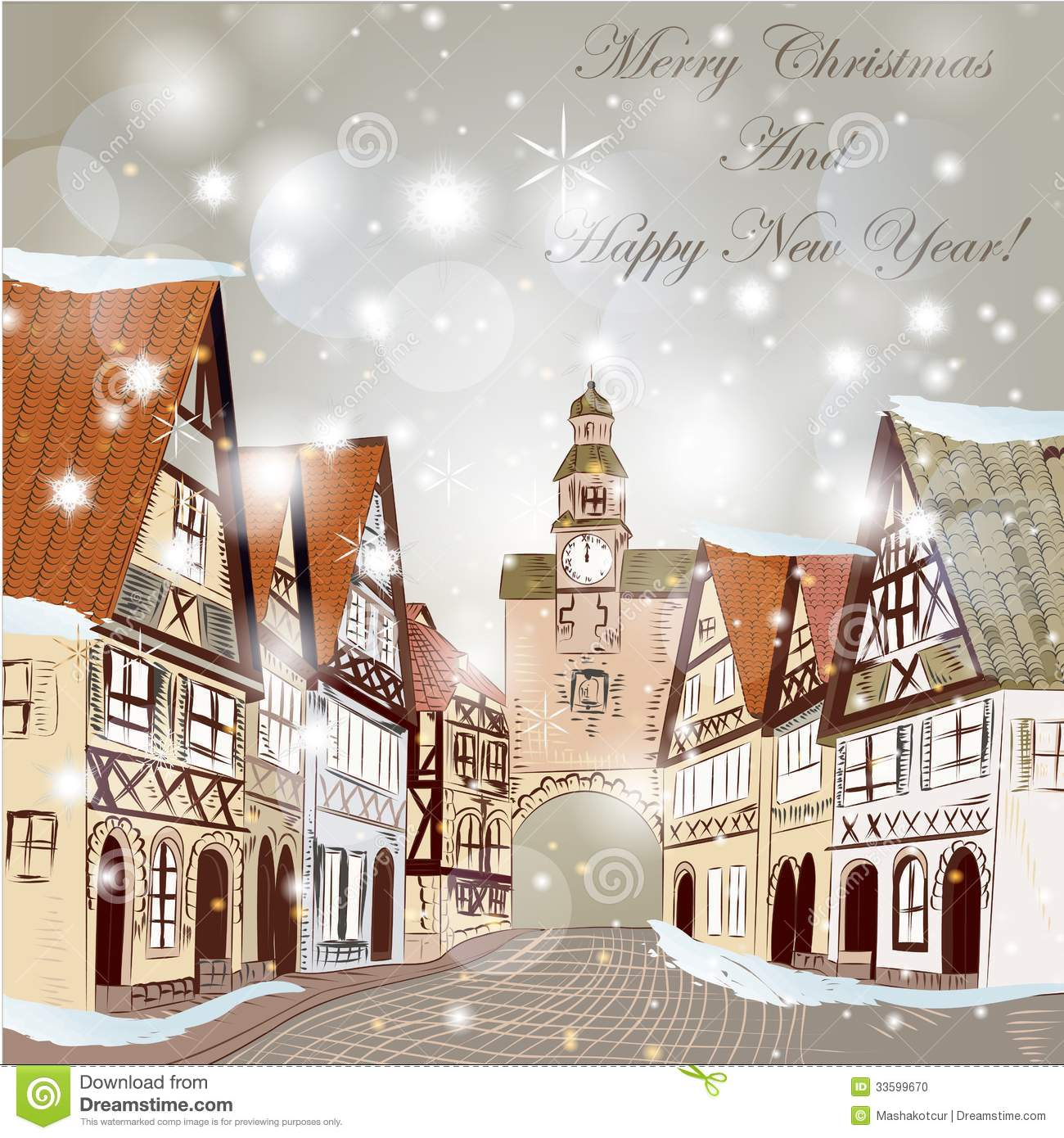 Christmas vector hand drawn card in sketch style with old street and ...