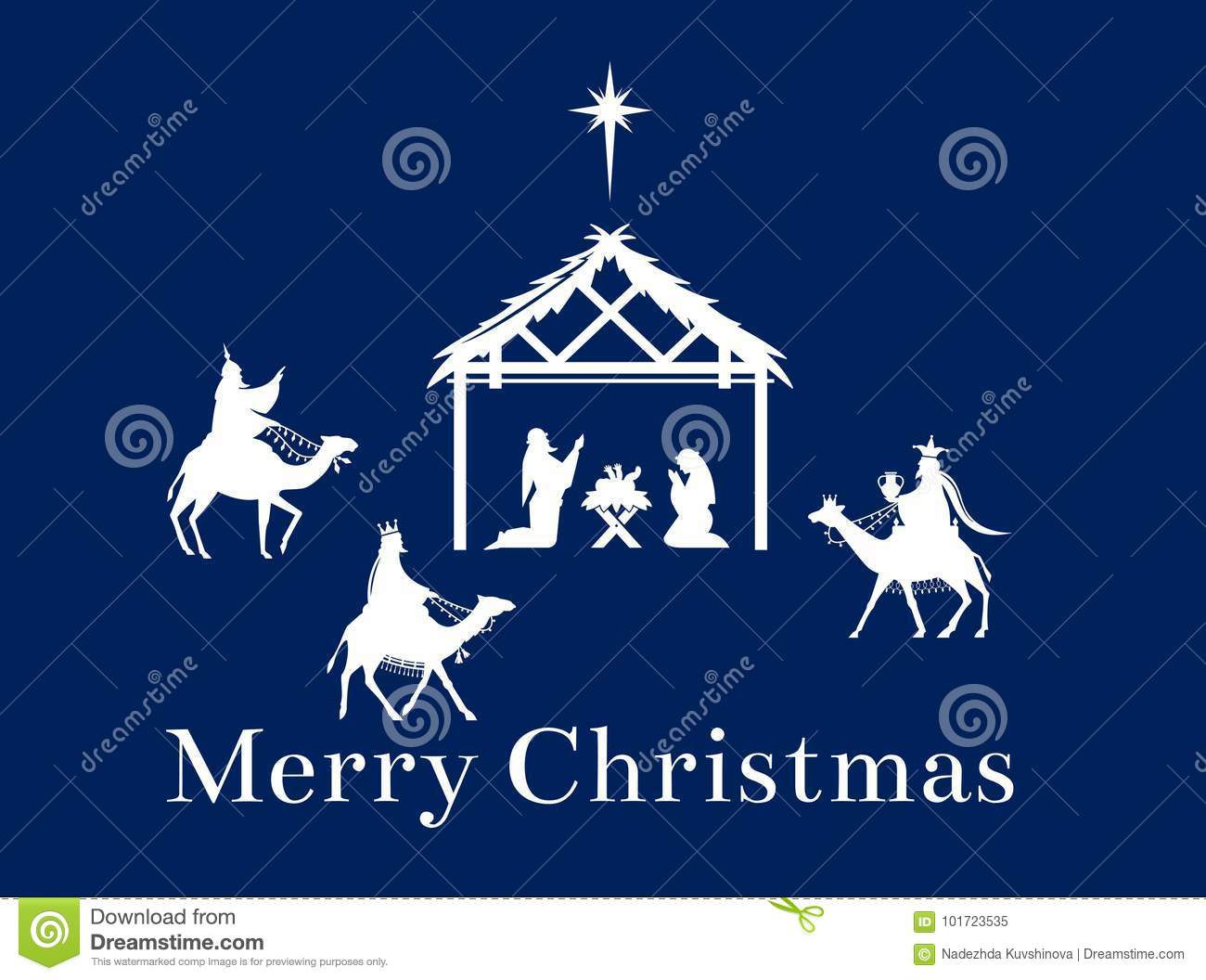 christmas scene of jesus in the manger stock vector illustration