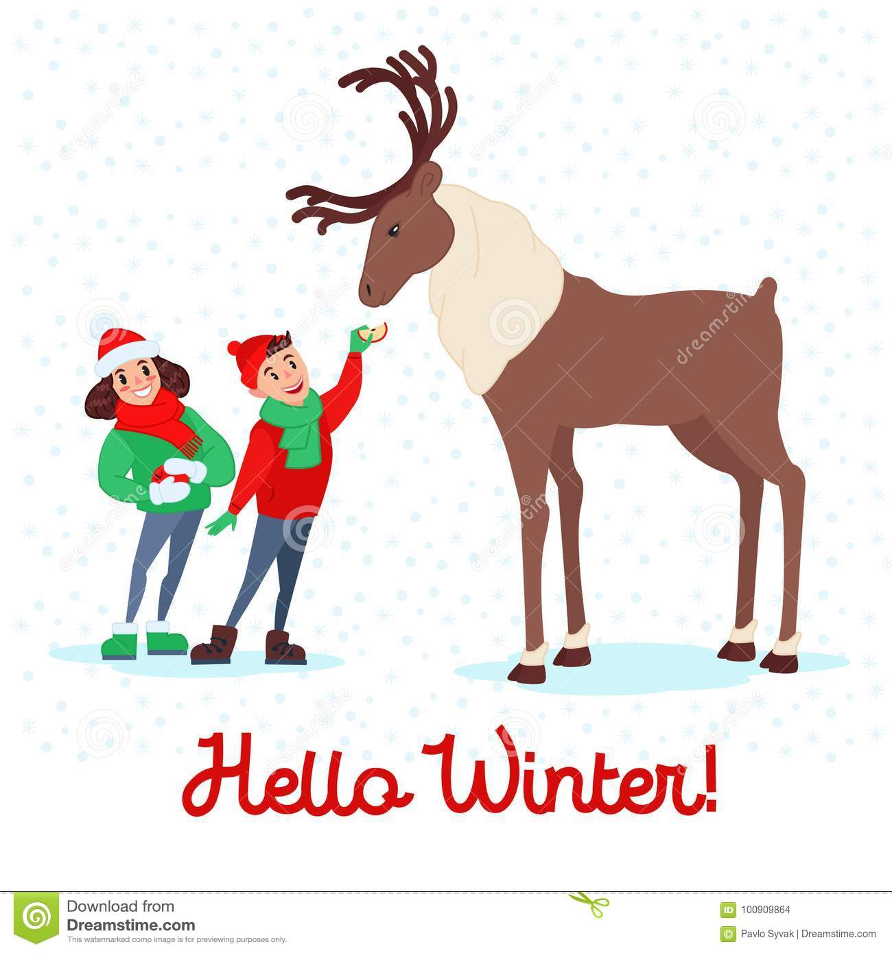 christmas scene with kids children feeding deer on winter holidays new year celebration