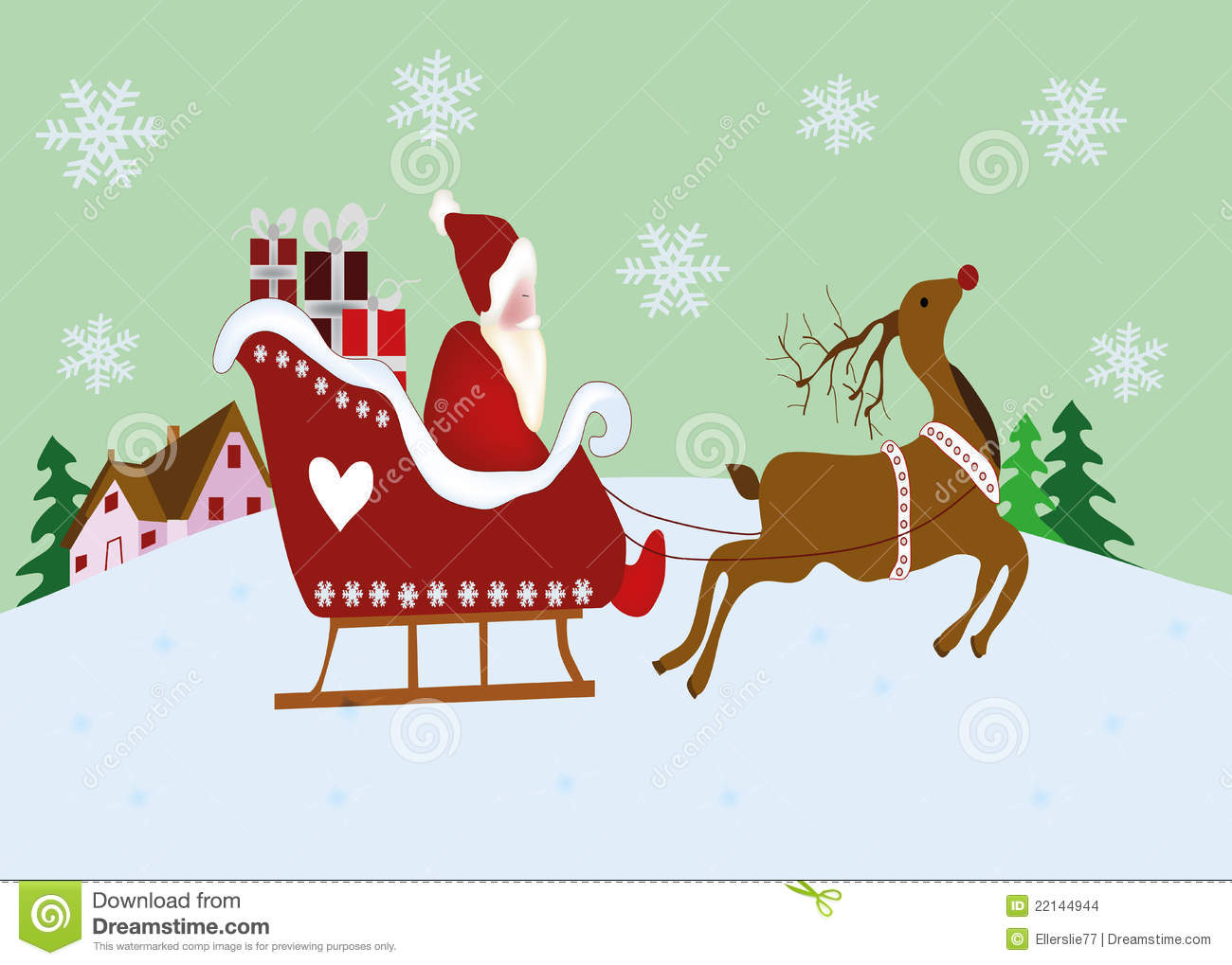 Reindeer and sleigh with presents outdoor christmas decoration stock - Christmas Scene With Reindeer And Sleigh Stock Images