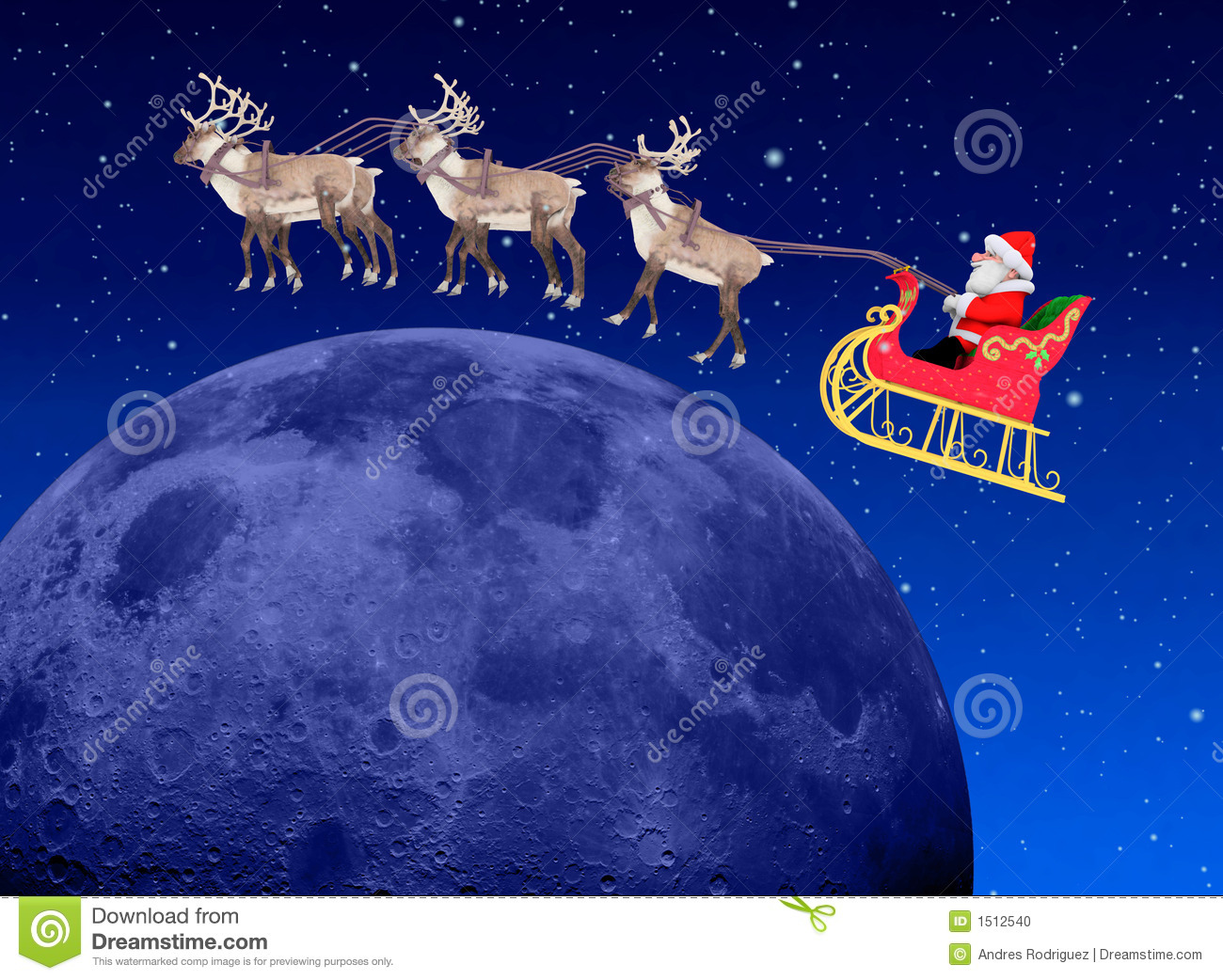 Christmas Scene Santa At Night Stock Illustration
