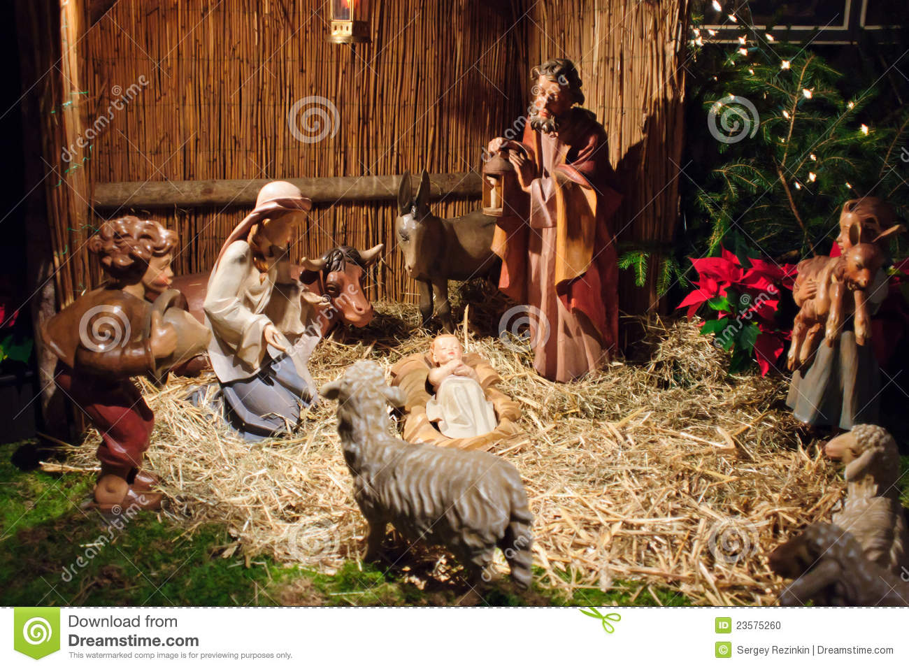 Christmas Scene With Three Wise Men And Baby Jesus Stock