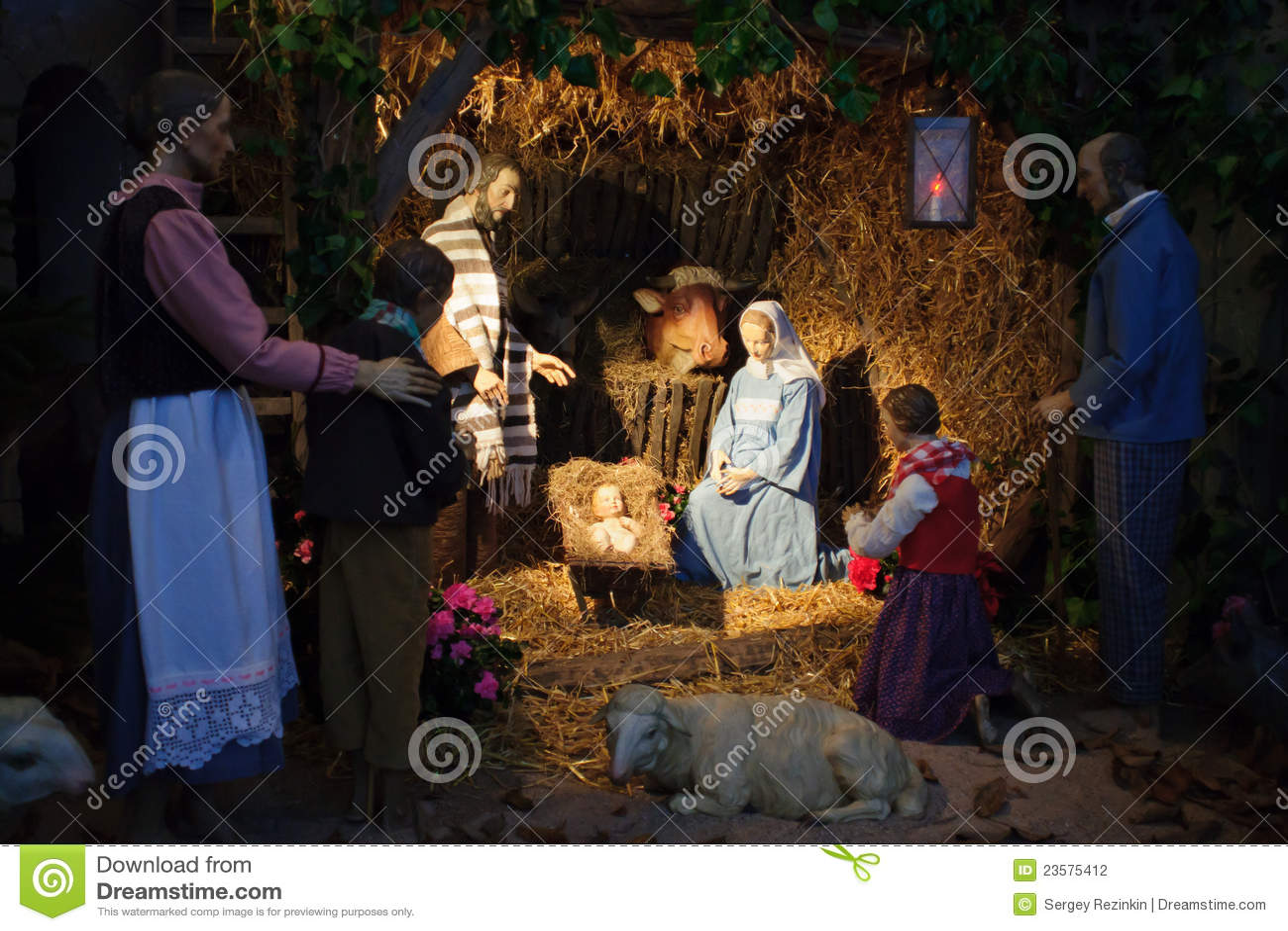 Christmas Scene With Three Wise Men And Baby Jesus Stock Photo ...