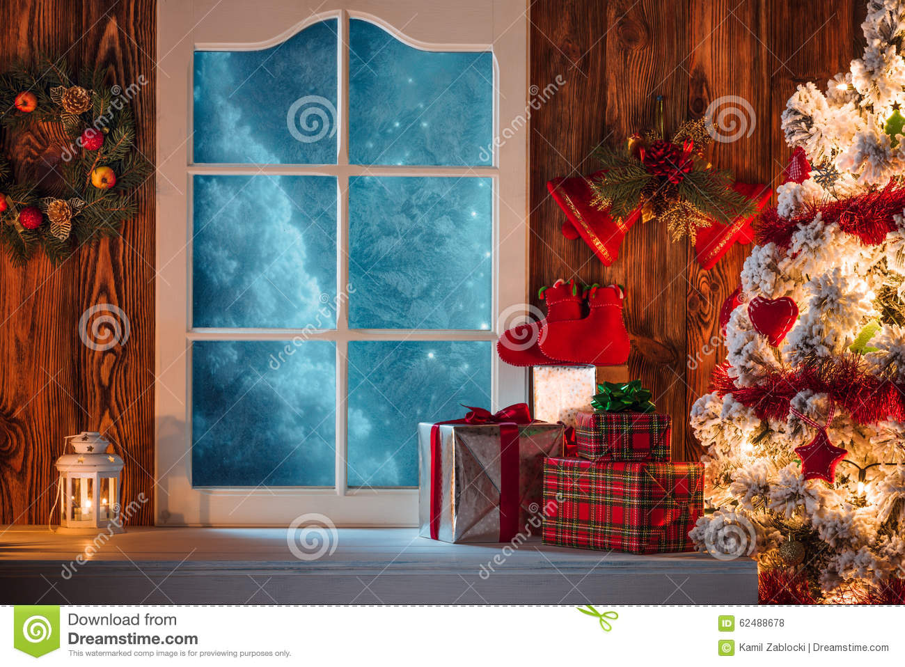 Christmas Scene With Tree Gifts And Frozen Window Stock Photo ...
