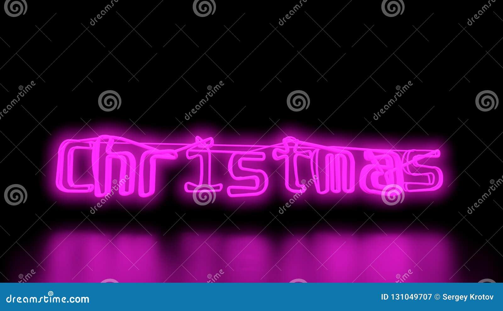 christmas sci fi purple pink neon lights lettering word on black