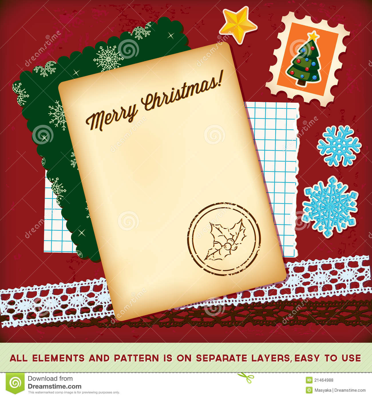 Christmas Scrapbook Elements Template Royalty Free Stock