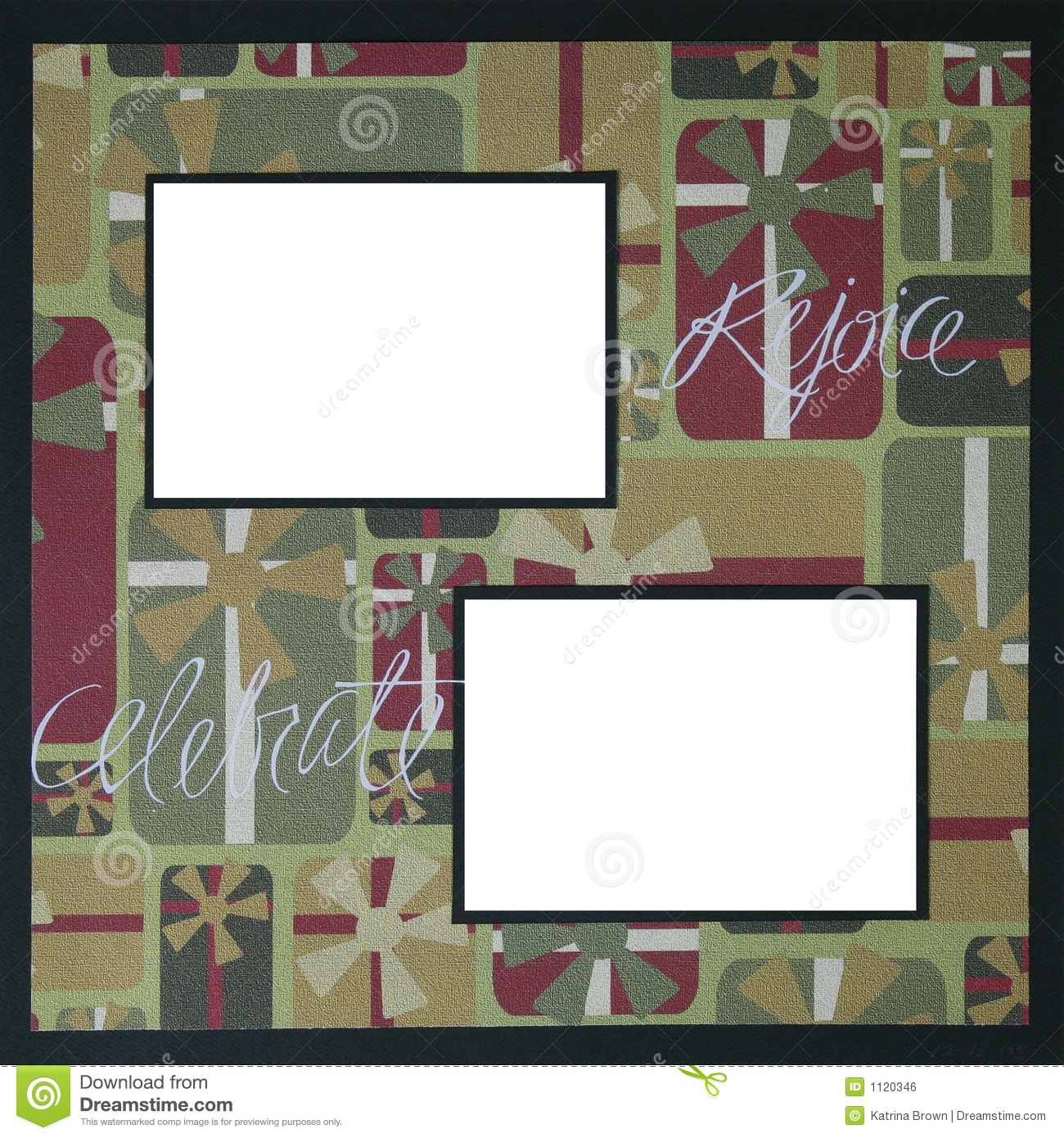christmas scrapbook frame template stock illustration