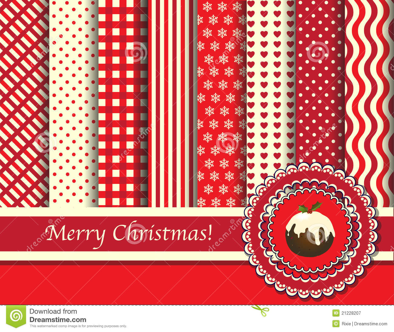 Christmas Scrapbooking Red And Cream Stock Vector Illustration Of