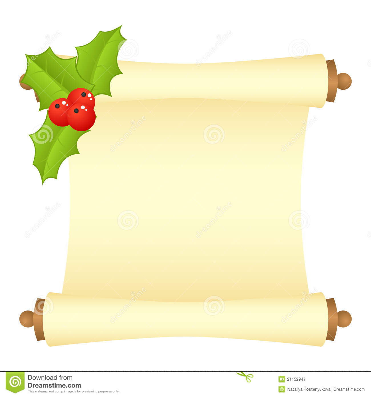 Scroll with Christmas decorations. Vector illustration, isolated on a ...