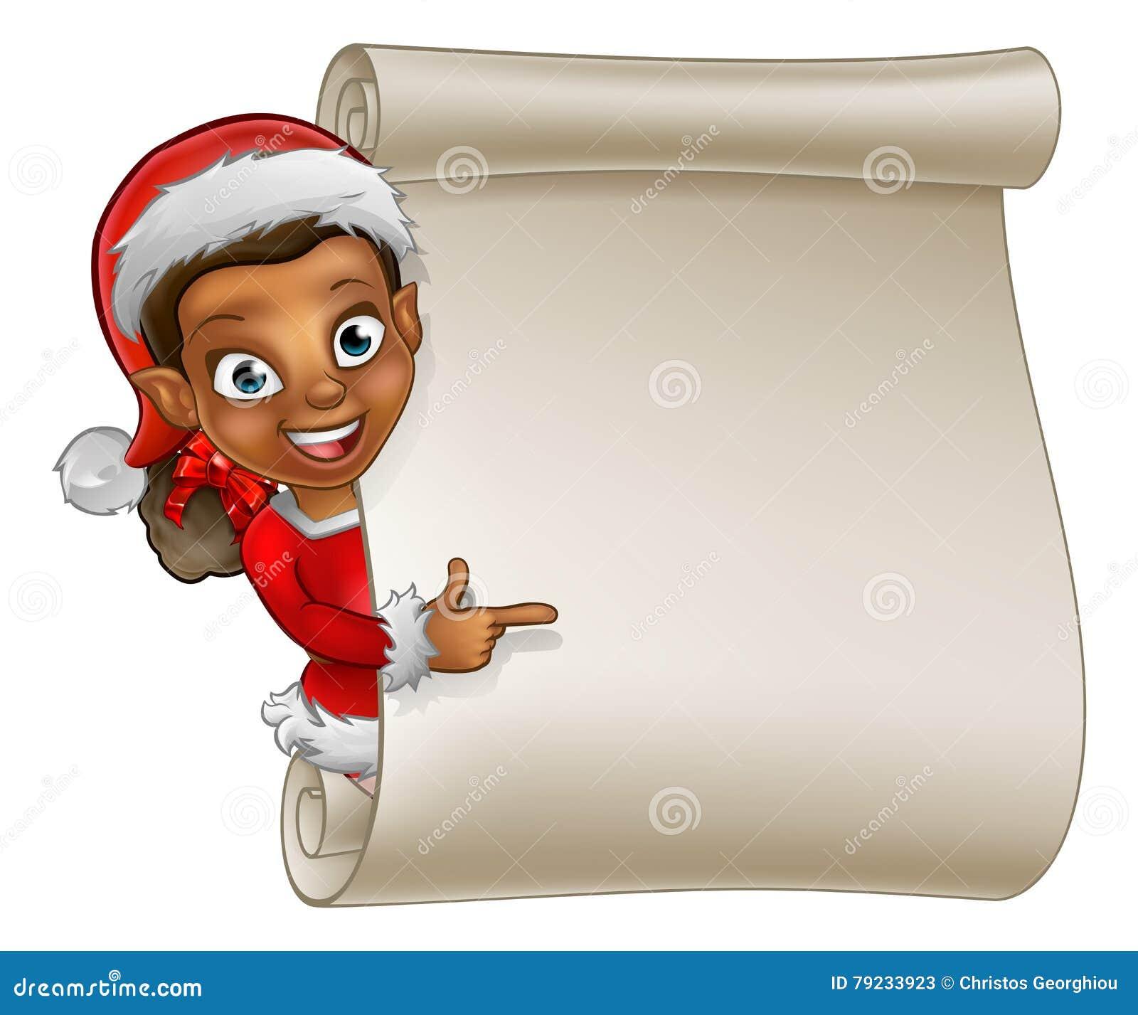 Christmas scroll elf cartoon stock vector image
