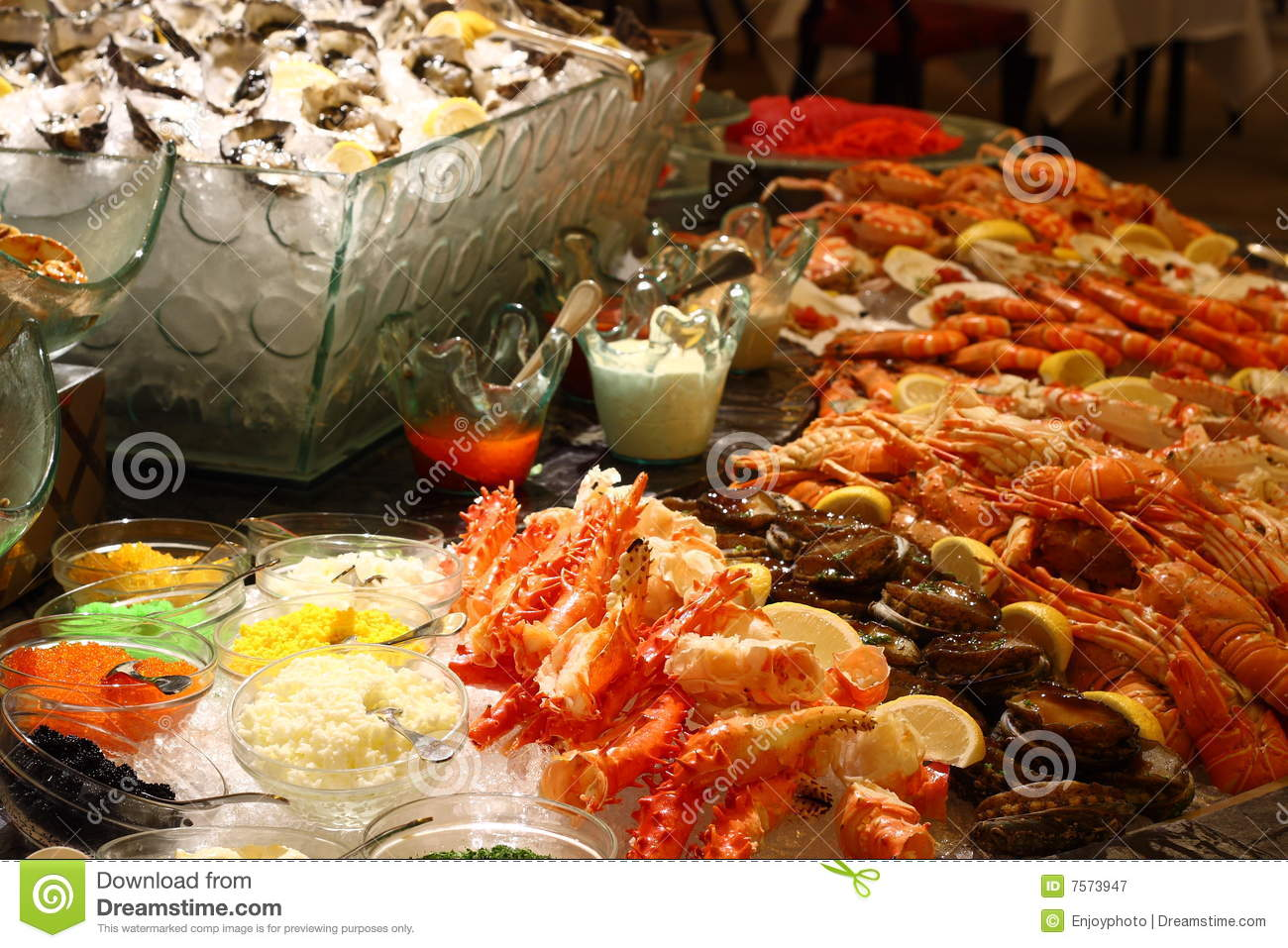 Christmas Seafood Buffet Royalty Free Stock Photography