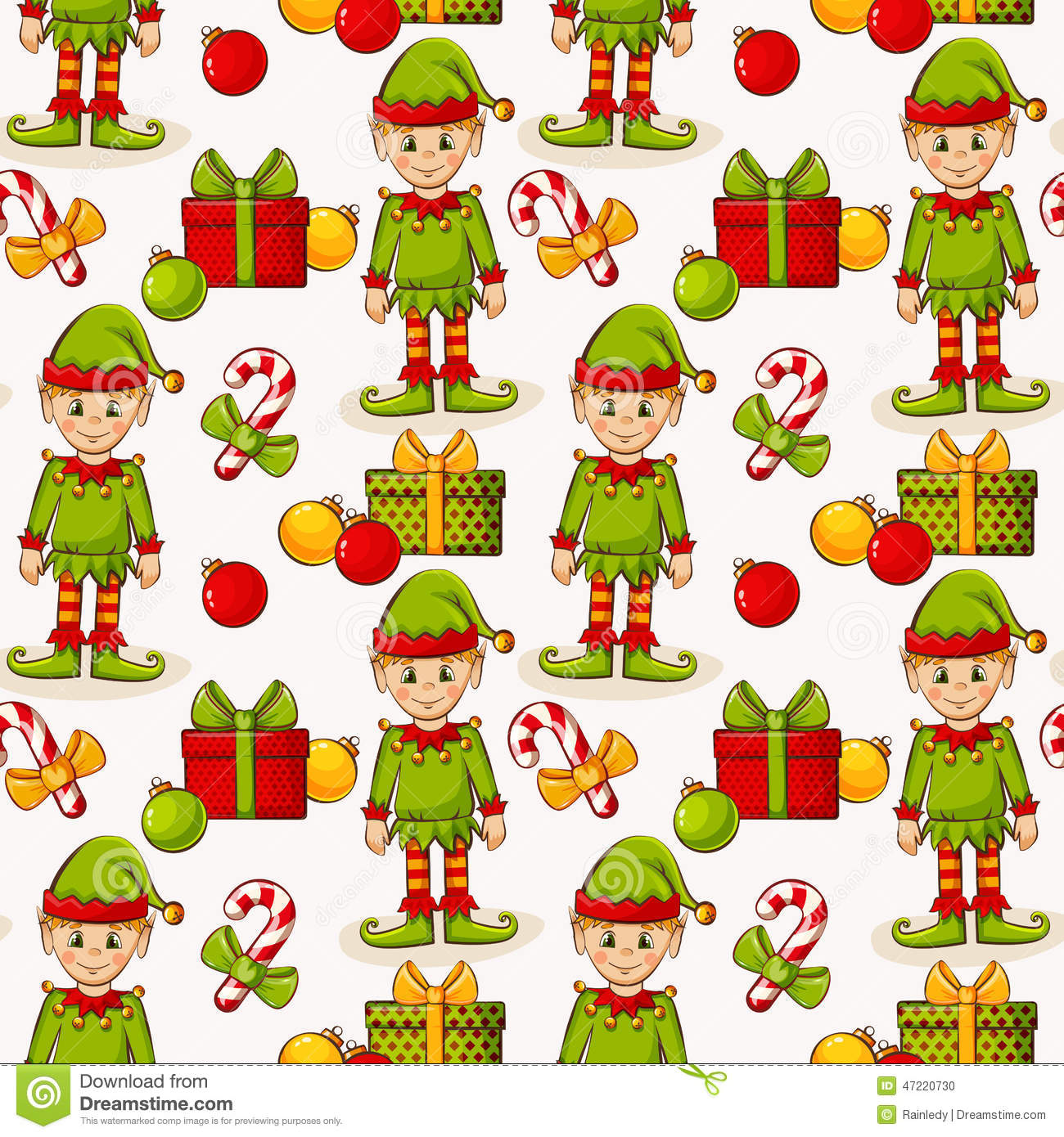 Christmas Seamless Background With Elves. Vector Pattern ...
