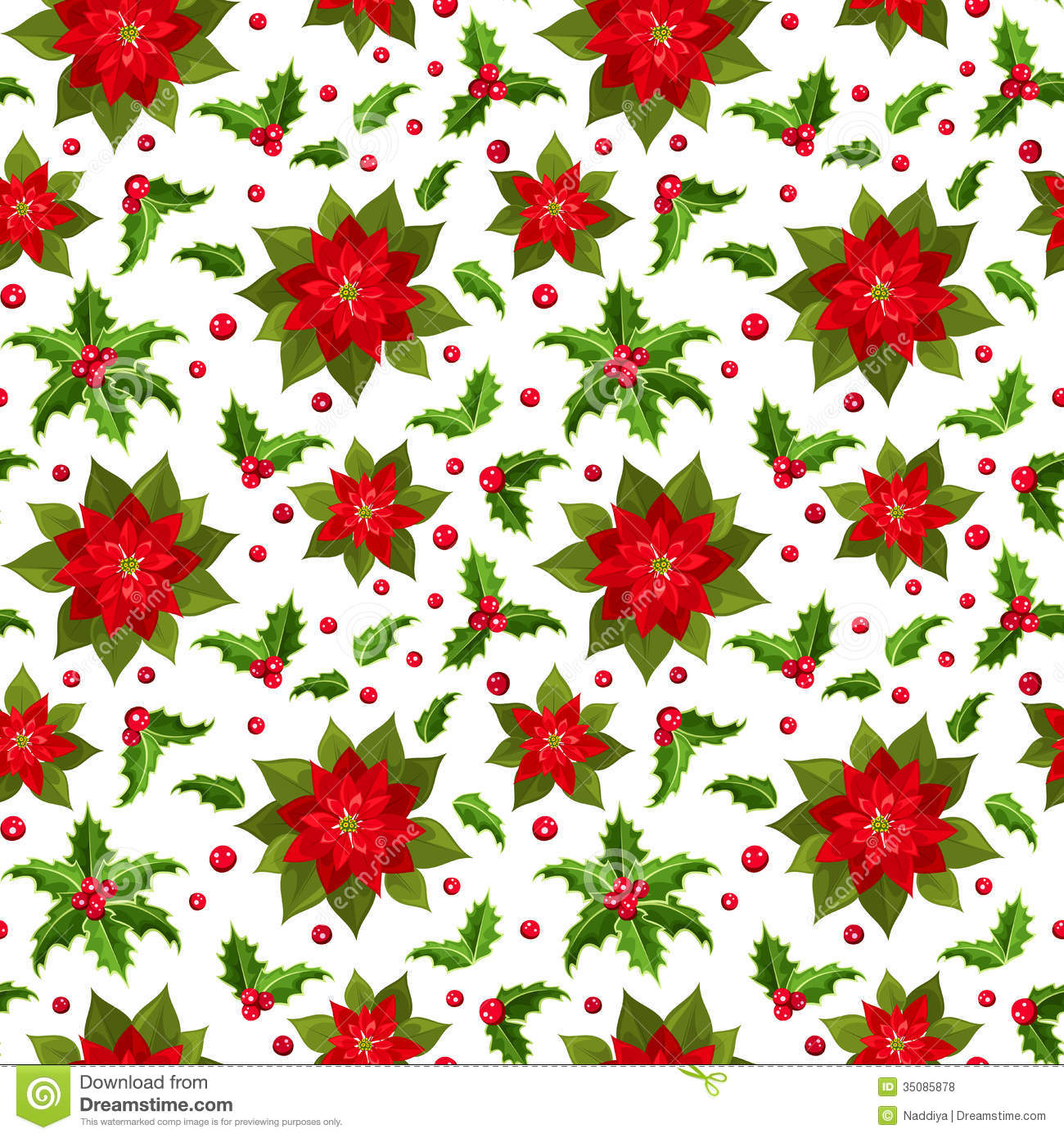 Illustration of Christmas seamless background with red poinsettias and ...
