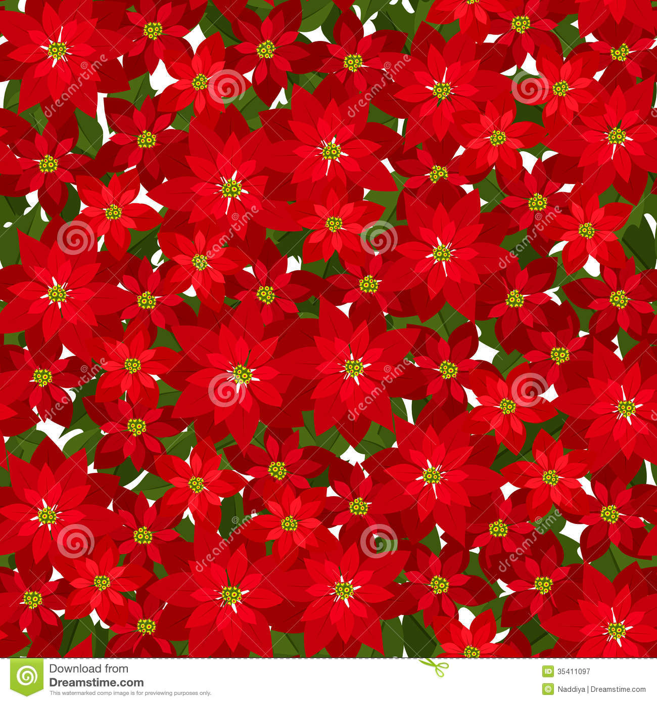 Christmas seamless background with red poinsettia stock