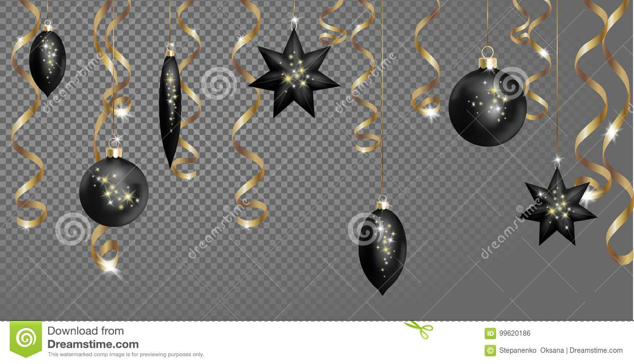 christmas seamless border banner template black ball fir toys star golden sparkle serpentine streamer new year tree decoration gold transparent grid 3d