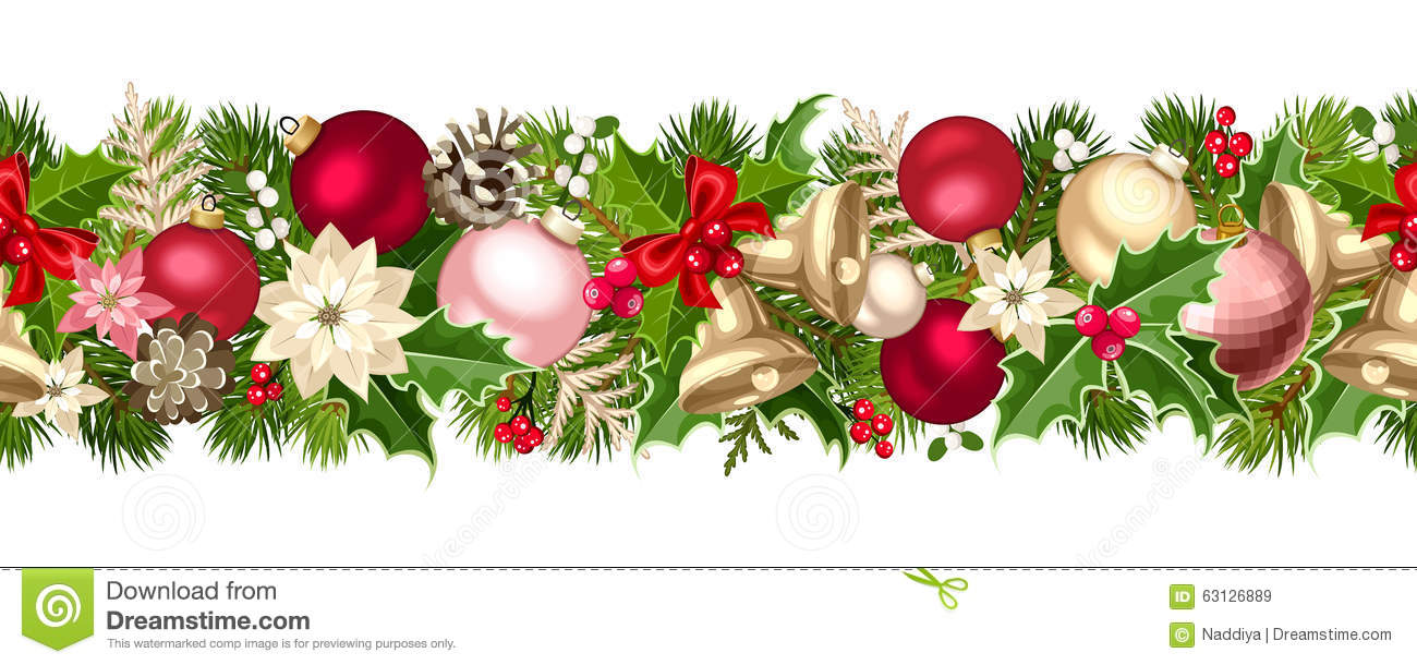 Christmas seamless garland with balls bells holly
