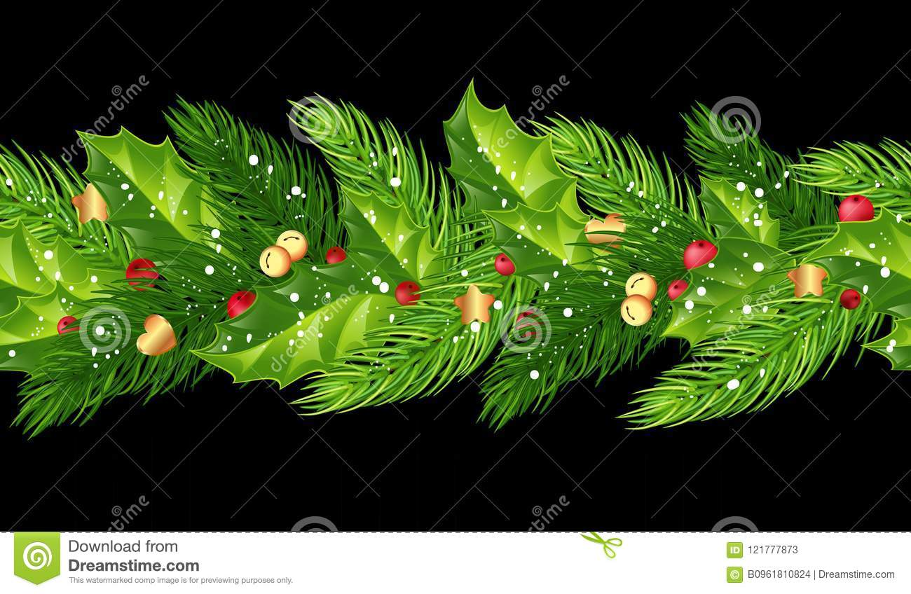 Christmas seamless garland with fir branches, holly, berries, b