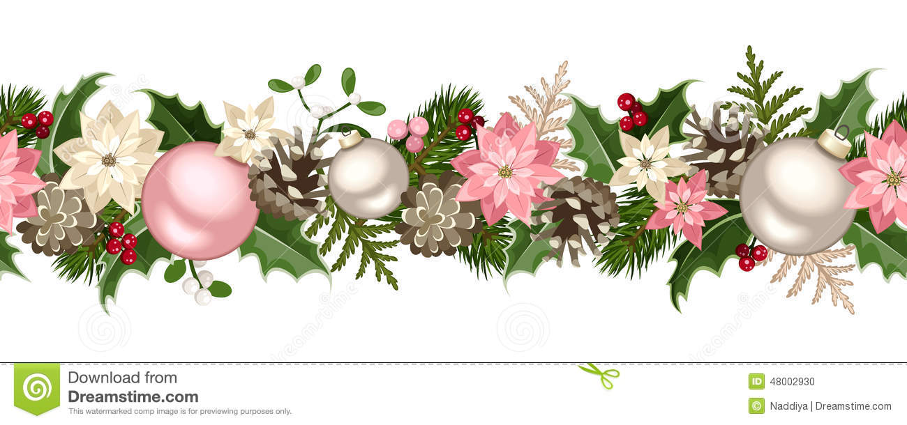 christmas seamless garland with fir branches pink and silver balls holly poinsettia cones. Black Bedroom Furniture Sets. Home Design Ideas